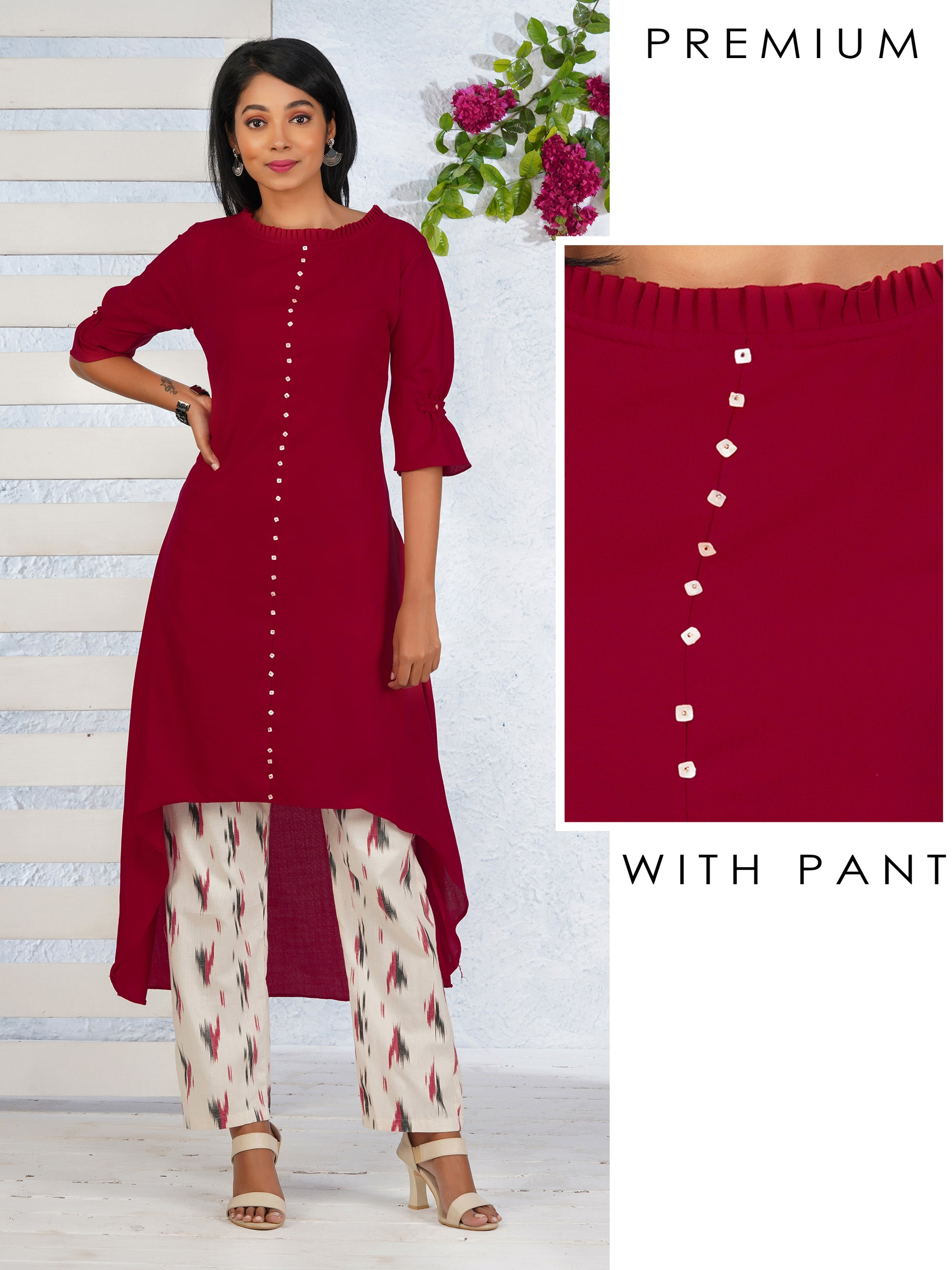 Trendy Hi-Low Pleated Neck Kurti With Ikkat Pant