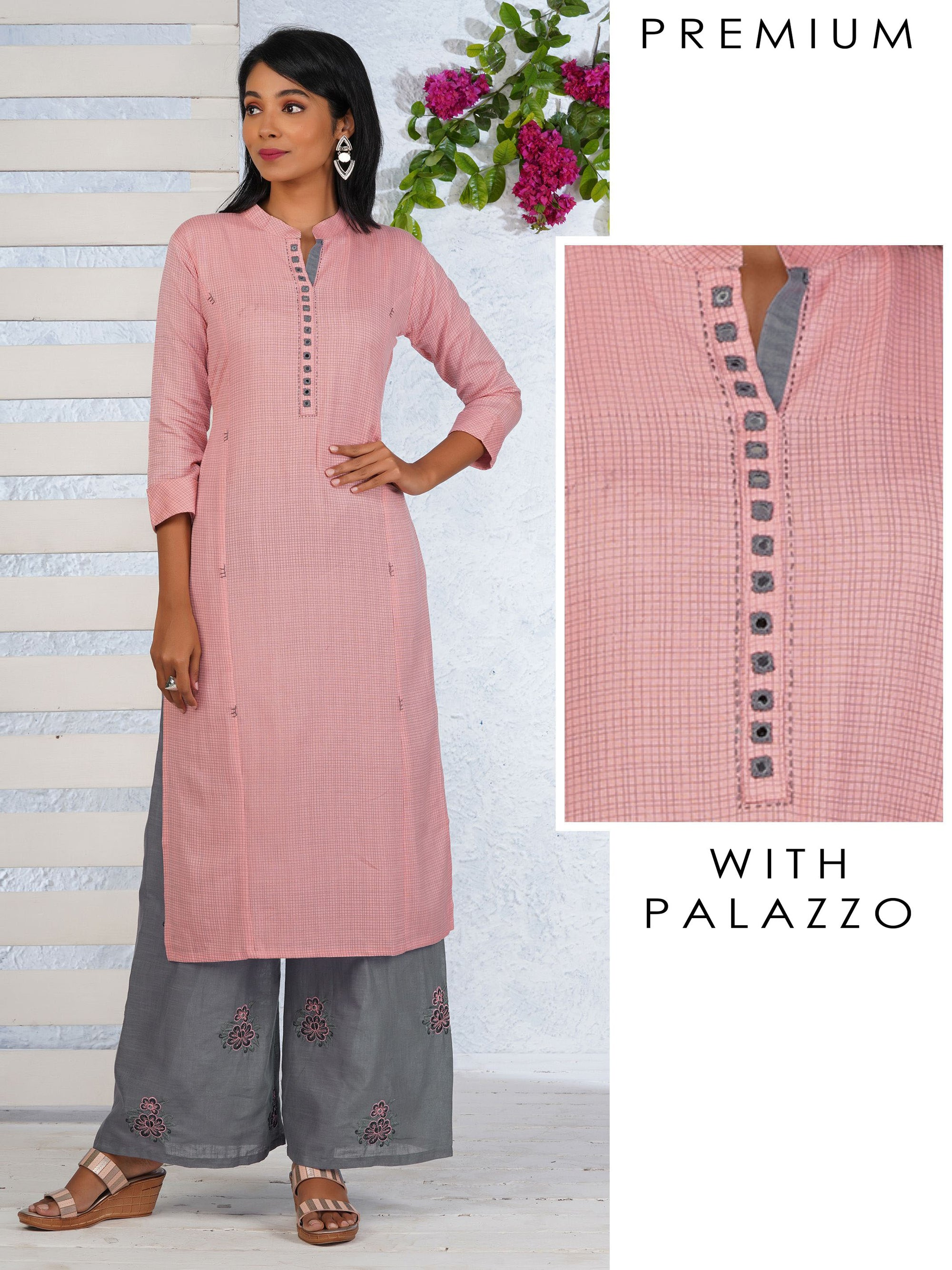 Pin Checkered Princess Cut Kurti & Palazzo Set