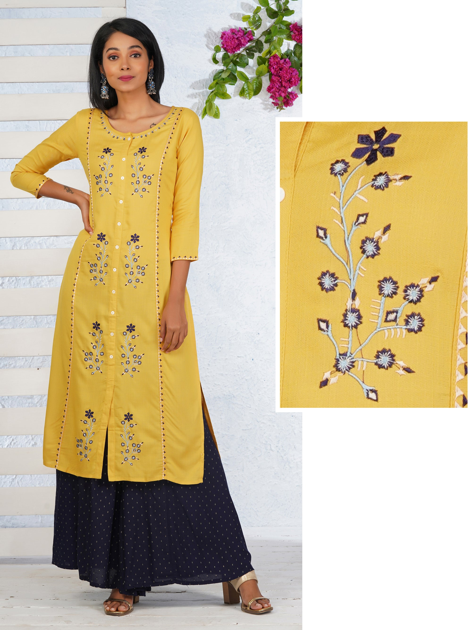 Satin Stitch Embroidered Panel Kurti
