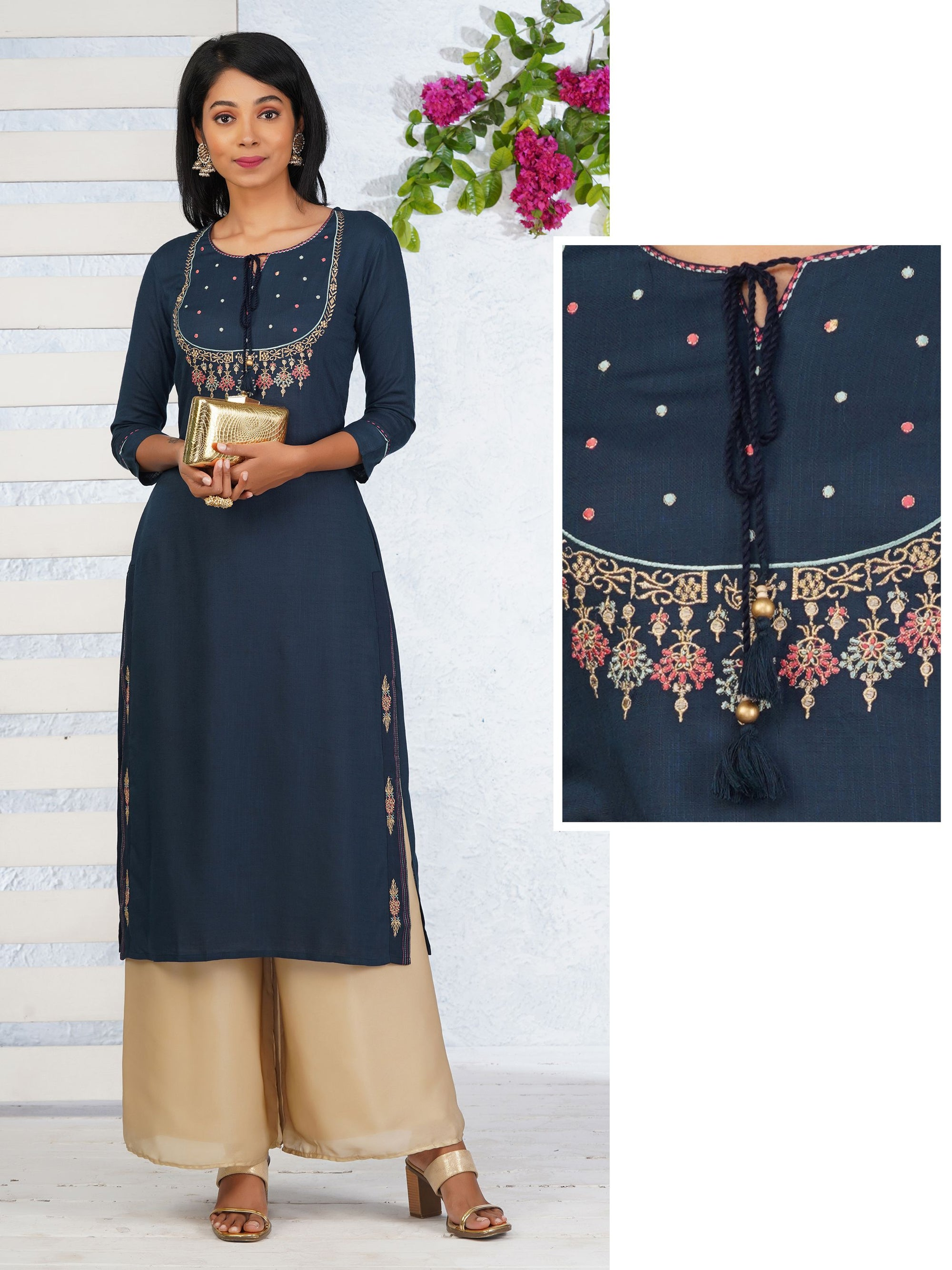 Minimal Buta Zari Embroidered Kurti – Teal Blue