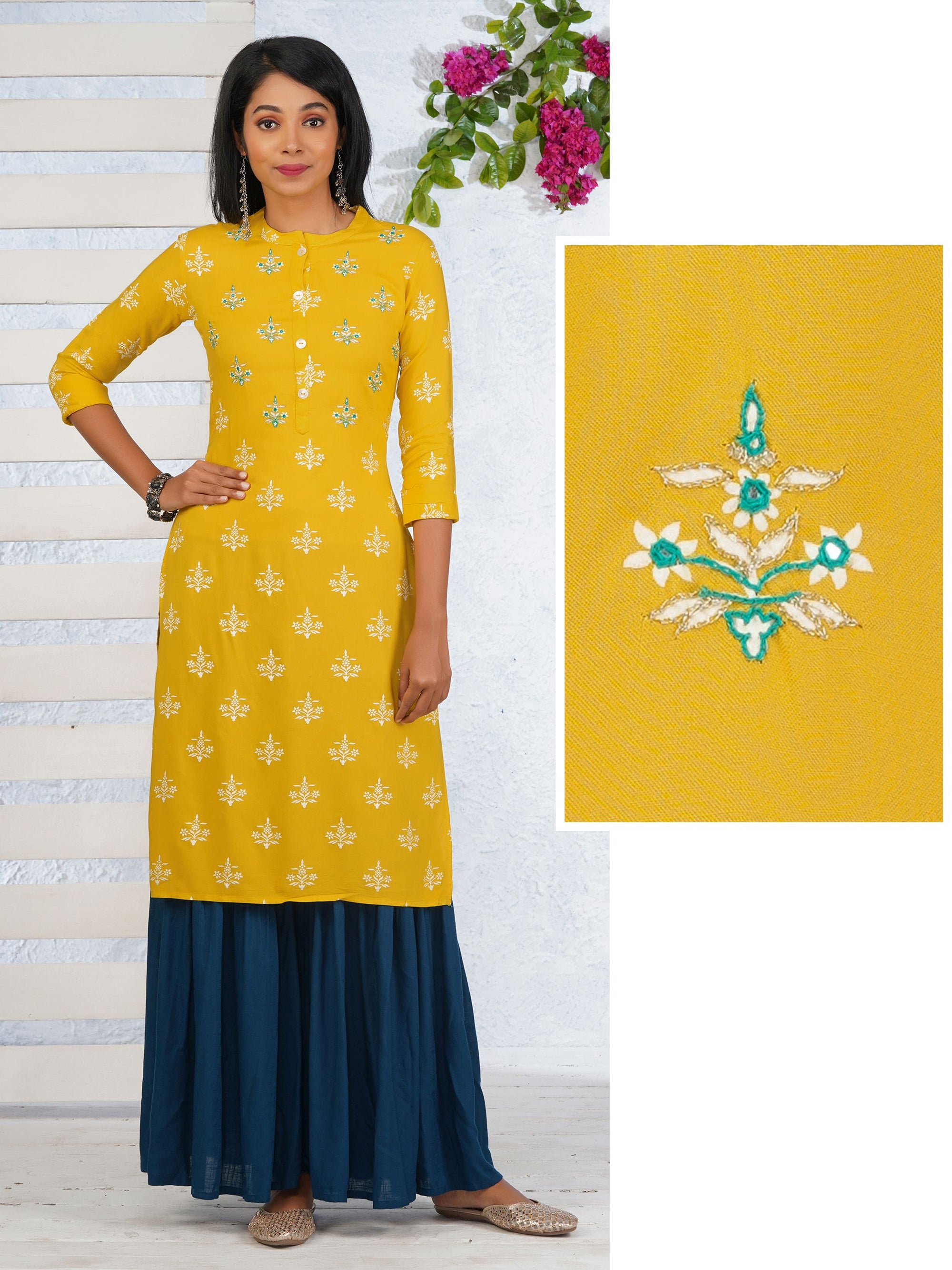 Floral Printed And Chain Embroidered Foil Mirror Work Kurta - Yellow