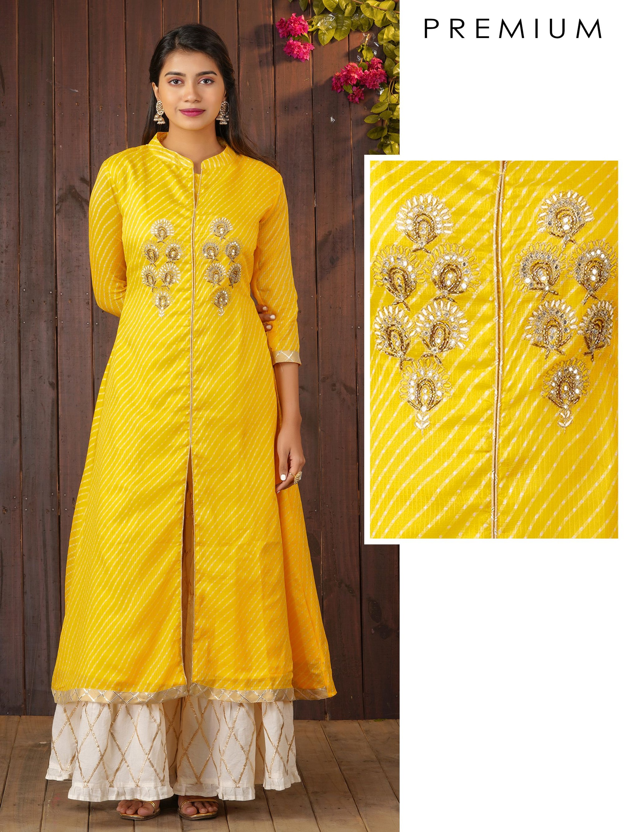 Leheriya A-line Kurta With Cutdana and Foil Mirror Work - Yellow