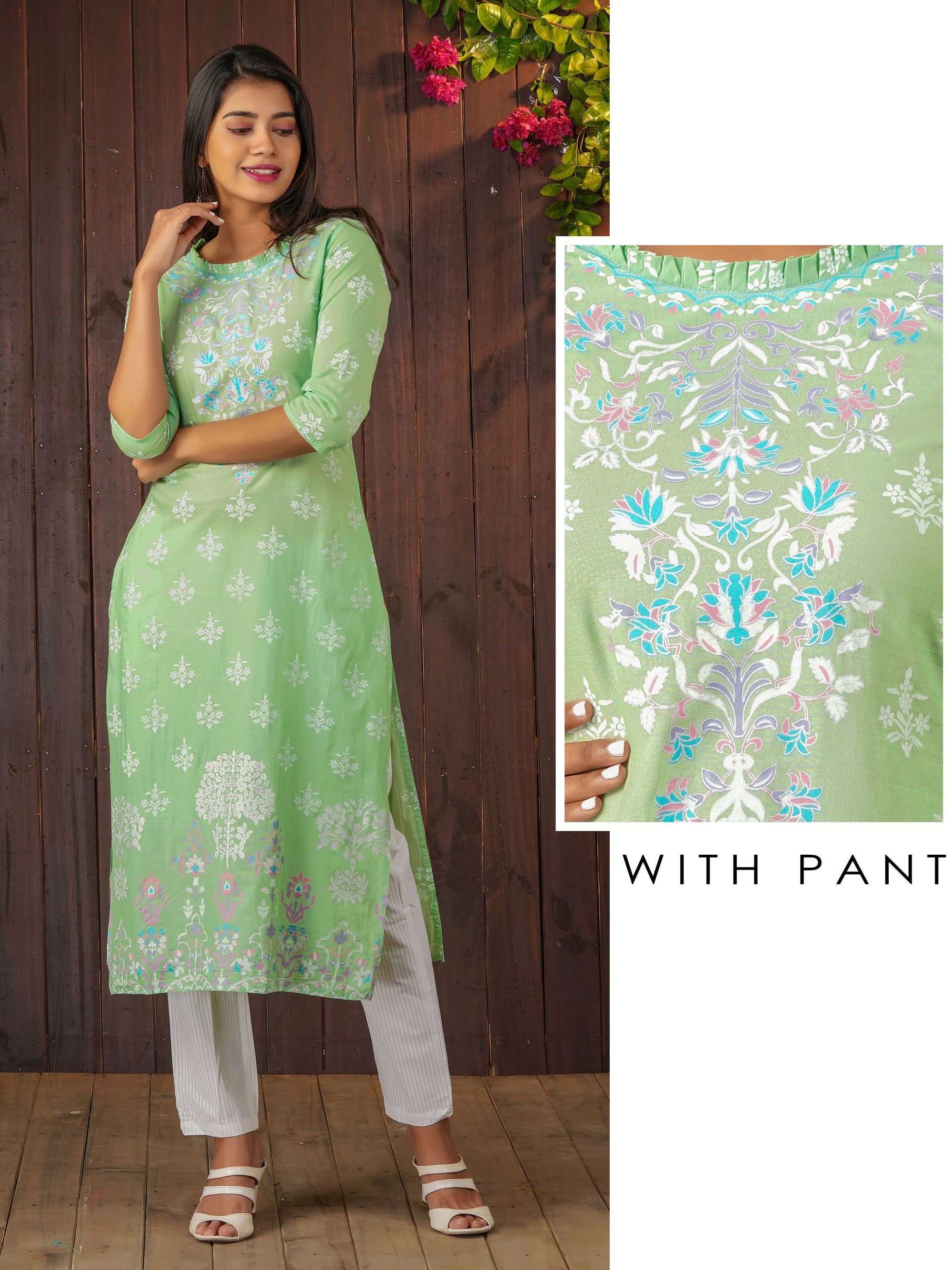 Floral Printed Kurti & Bengal Striped Pant Set – Pastel Green