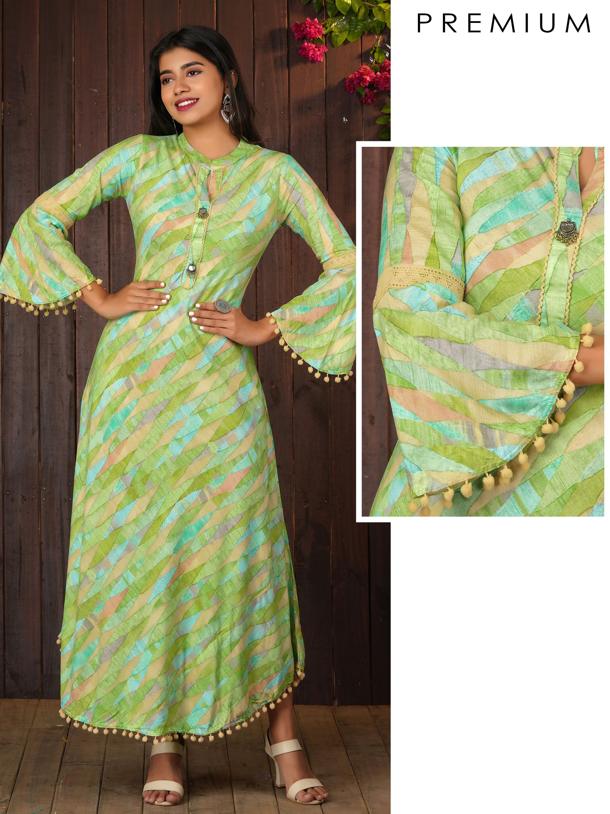 Abstract Printed Bias Cut Maxi With Bell Sleeves - Green