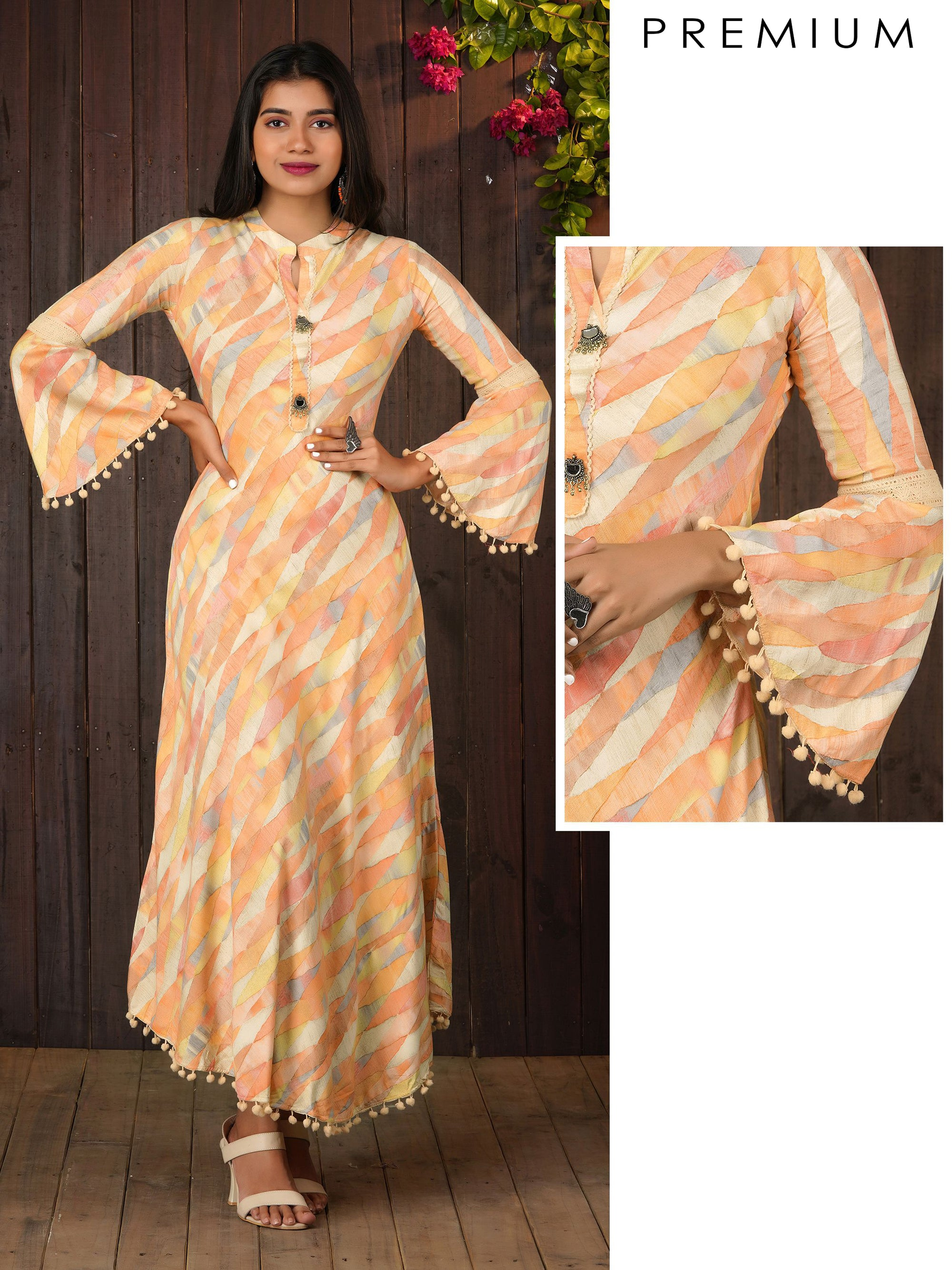 Abstract Printed Bias Cut Maxi With Bell Sleeves - Peach