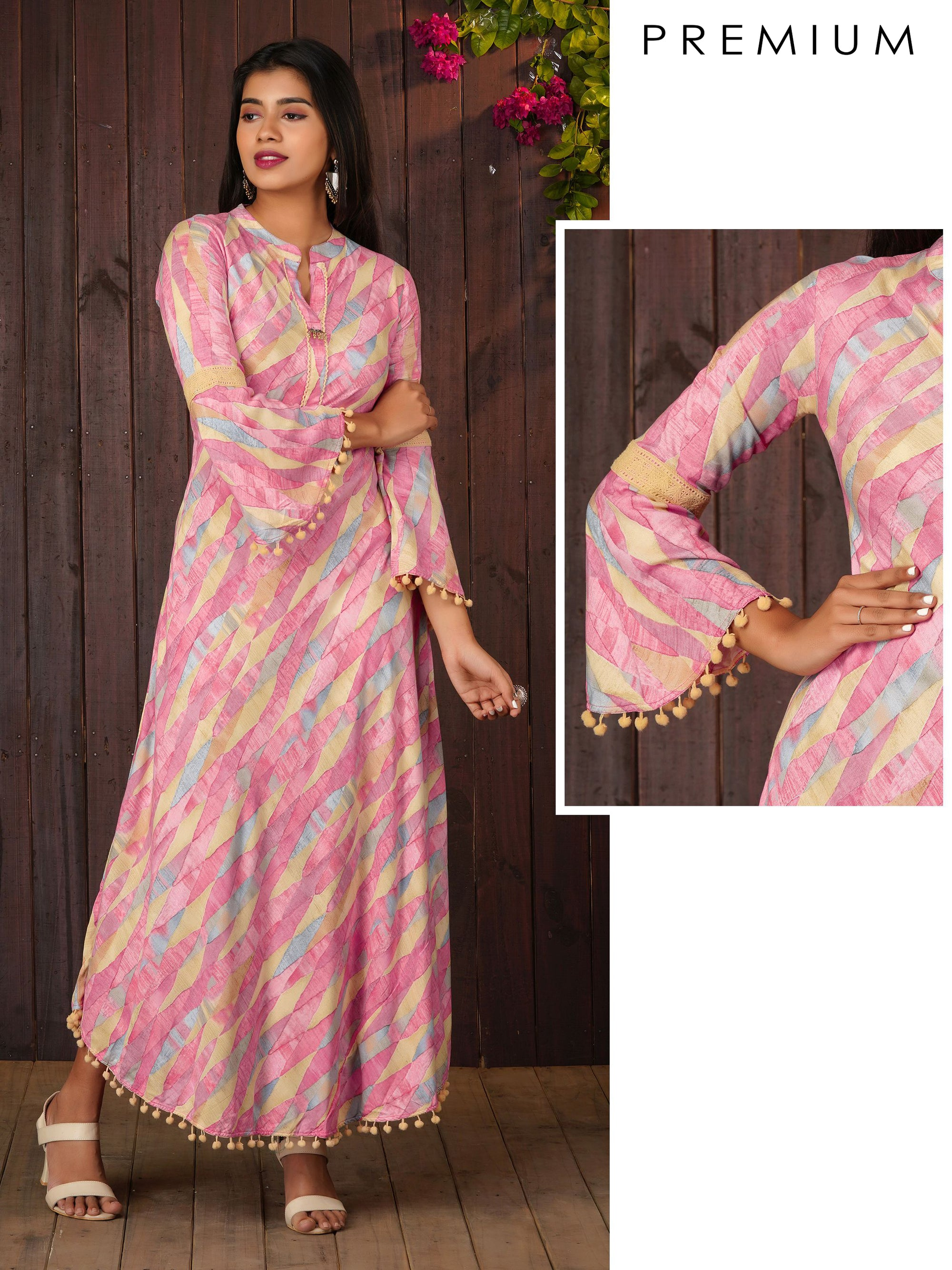 Abstract Printed Bias Cut Maxi With Bell Sleeves - Pink