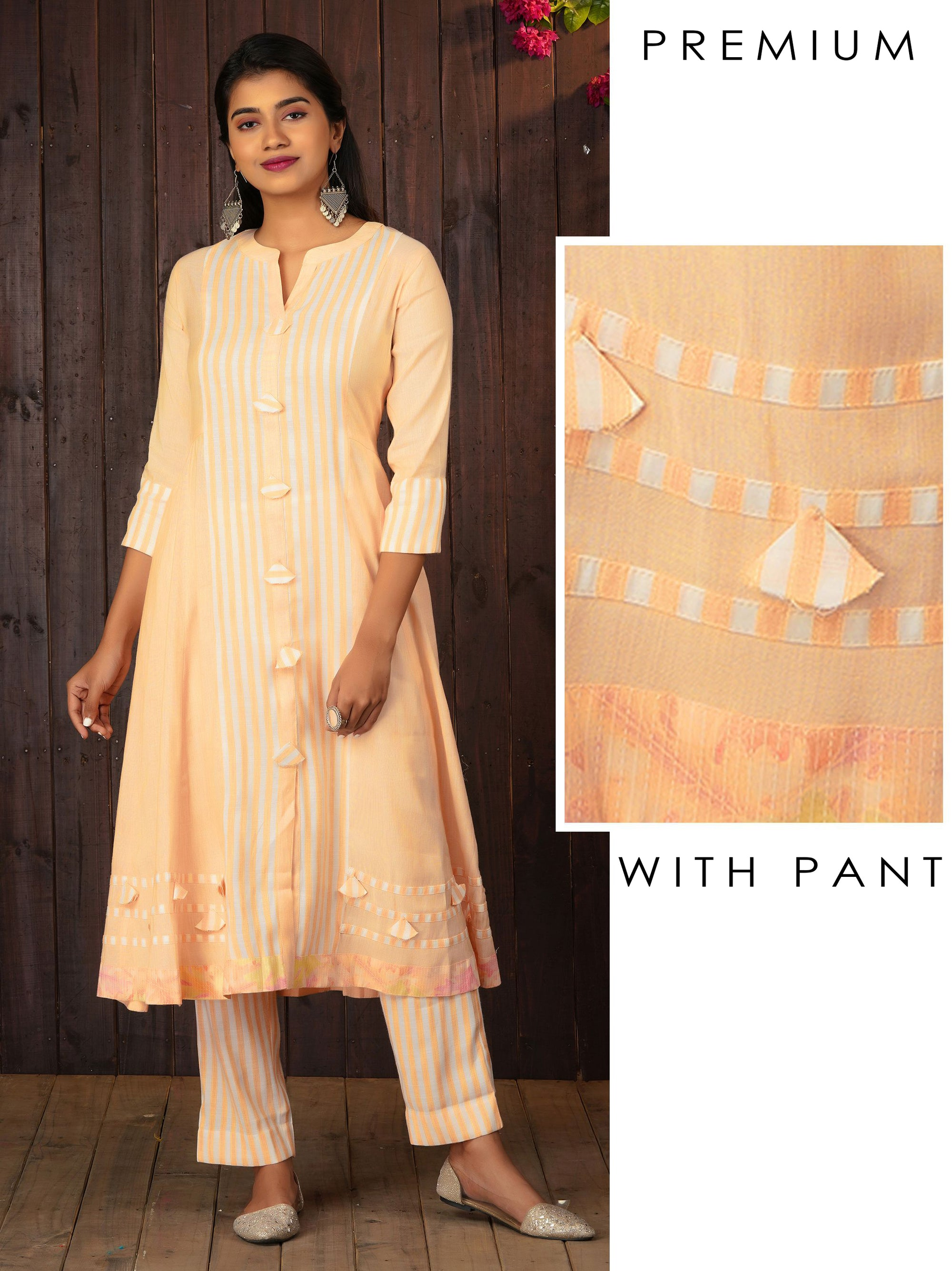Awning Striped Tassel Enhanced Multi Panel Flared Kurta With Pant