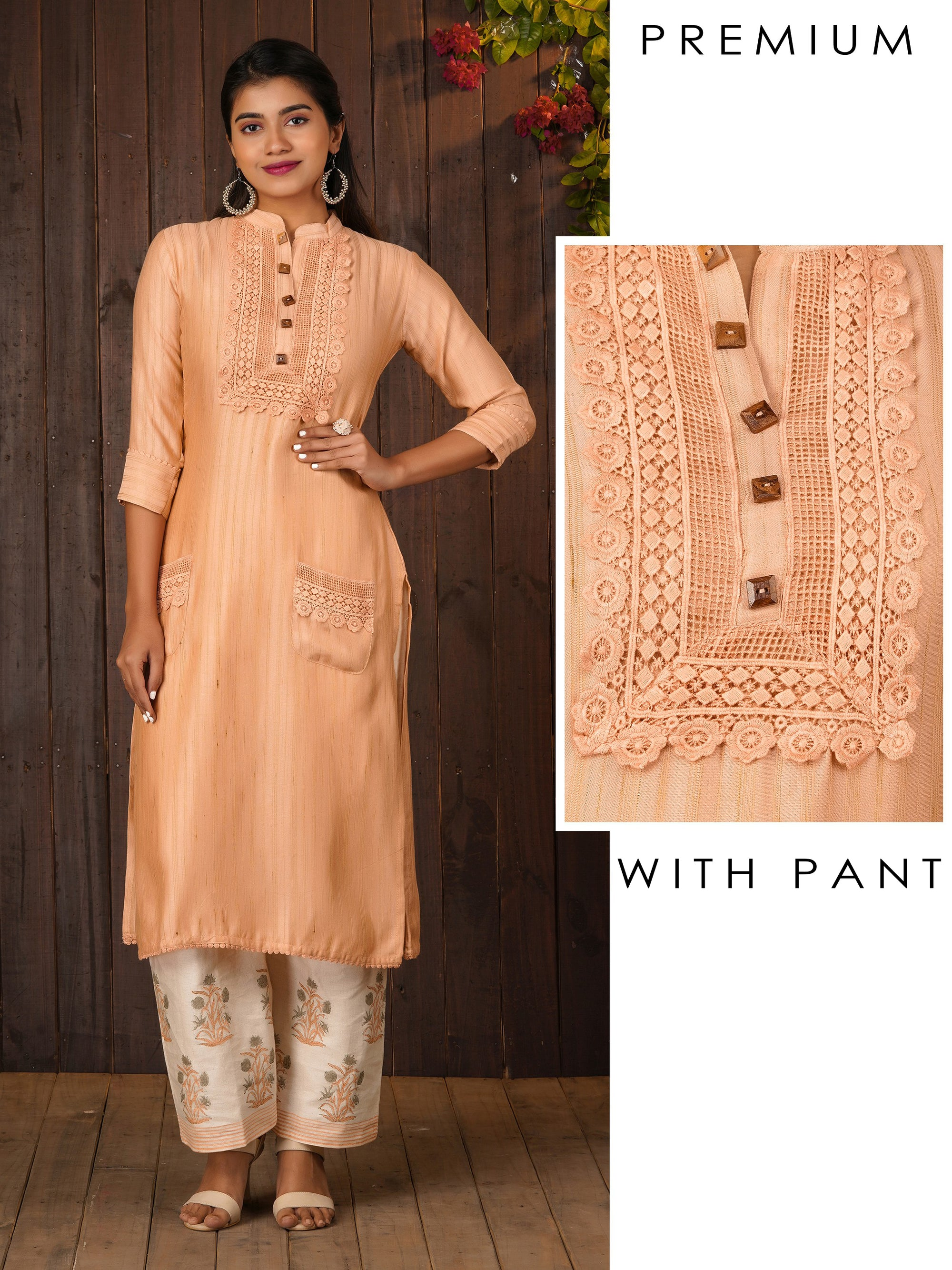 Crochet Embroidered Kurti & Floral Printed Pant Set – Peach