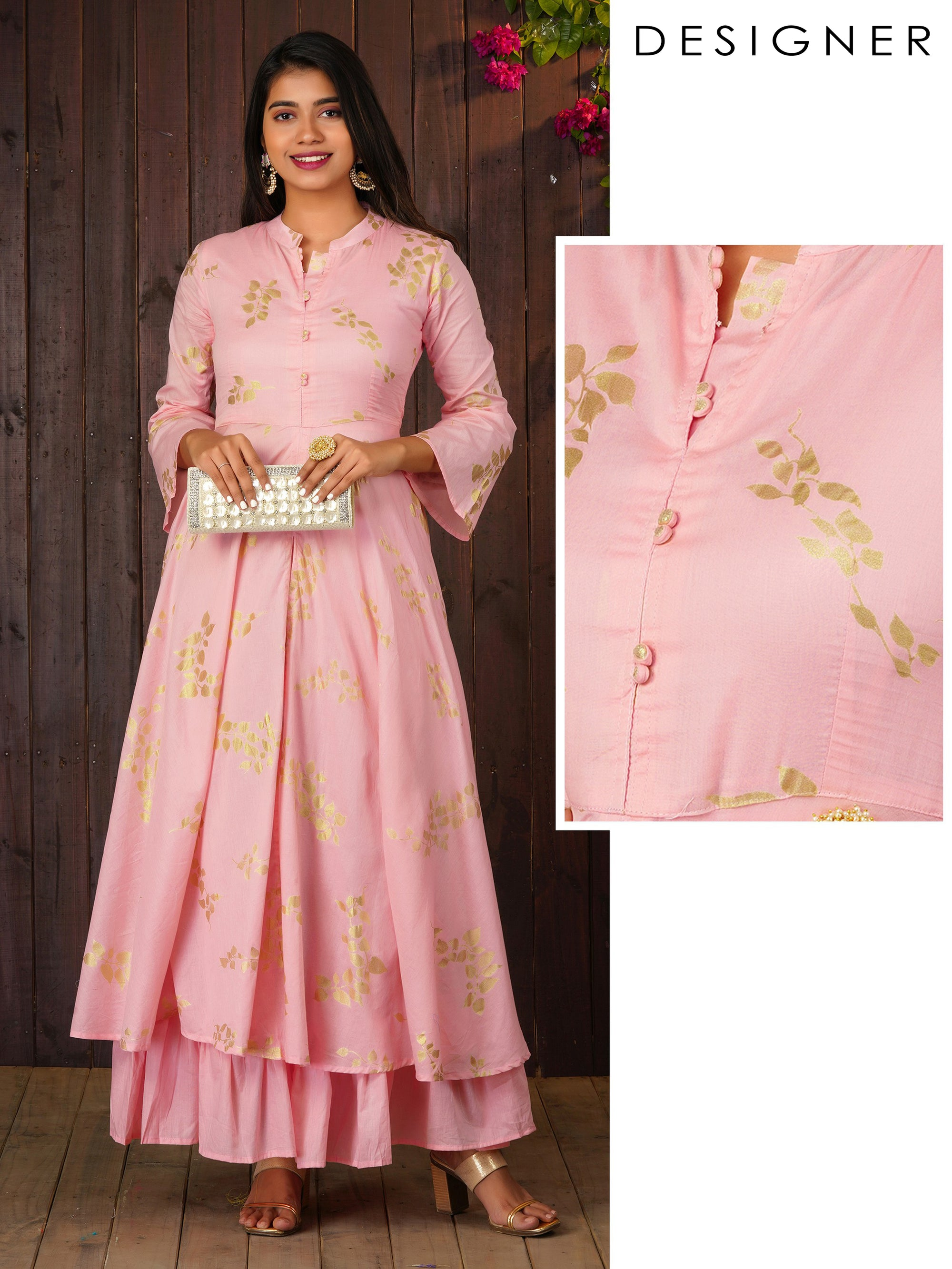Elegant Gold Khari Leaf Printed Flared Kurta With Inner Lining - Pink