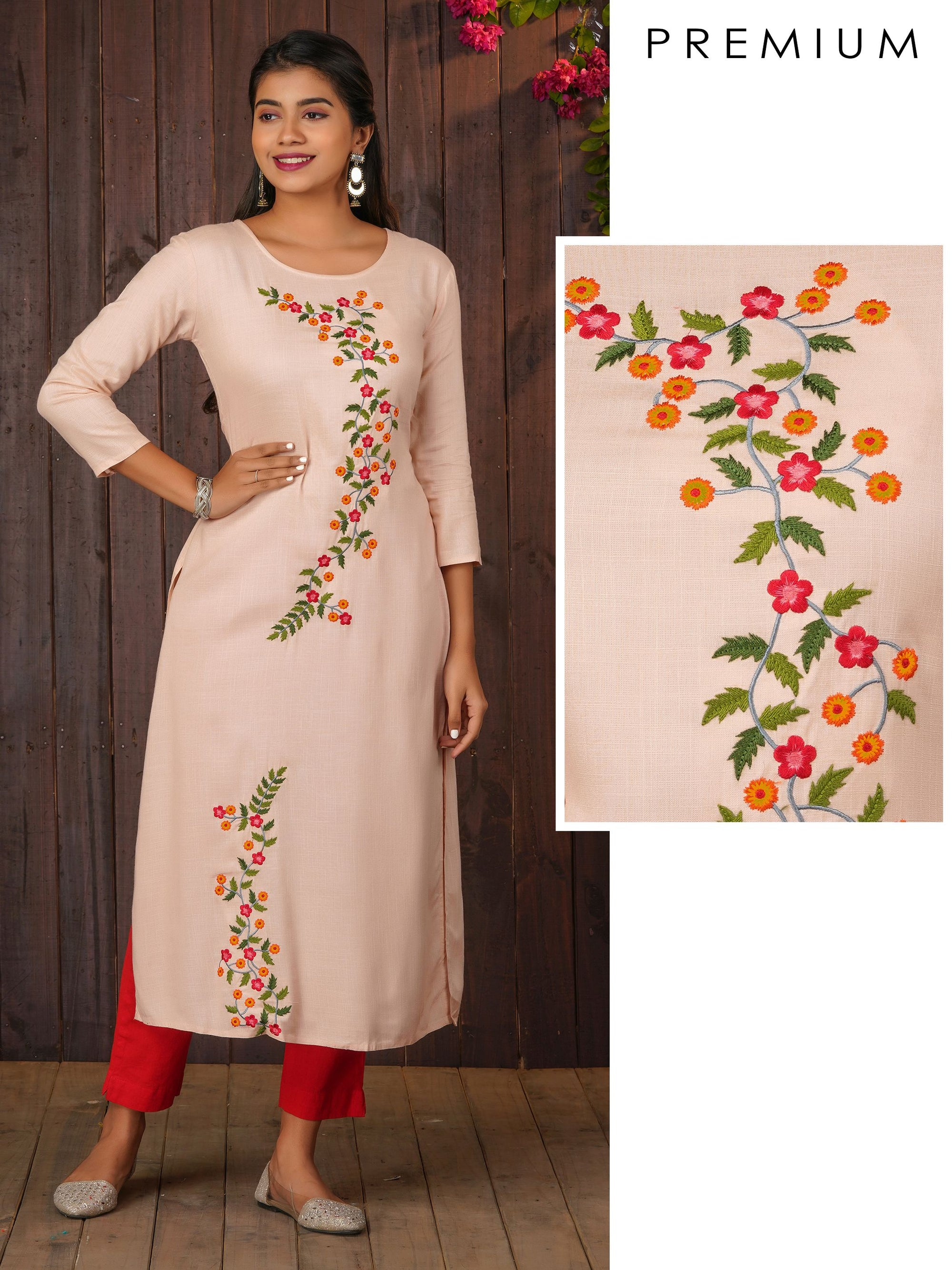 Elegant Floral Embroidered Kurti – Peach