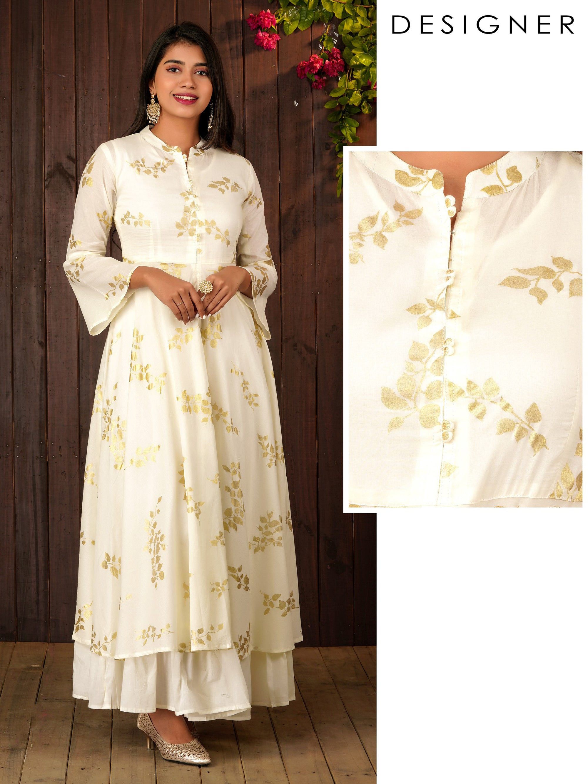 Elegant Gold Khari Leaf Printed Flared Kurta With Inner Lining - Off-White