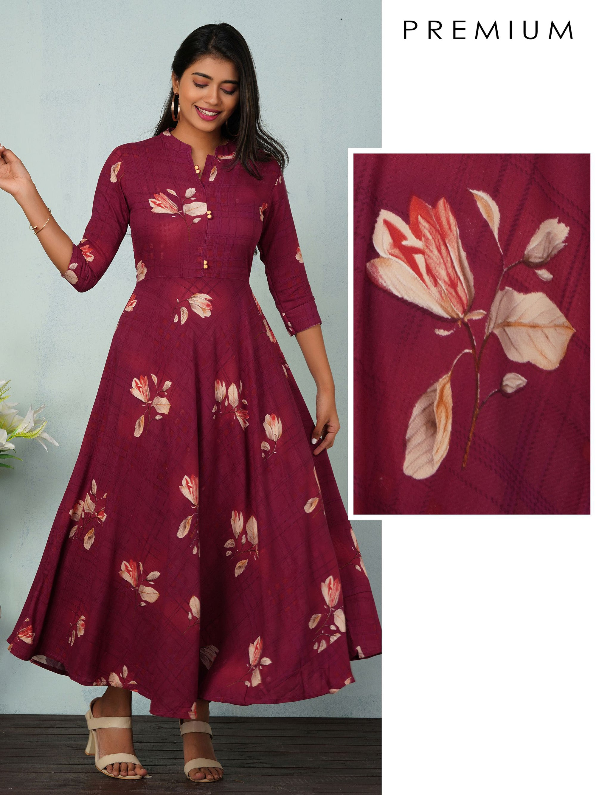 Tulip Printed Bias Cut Maxi - Burgundy