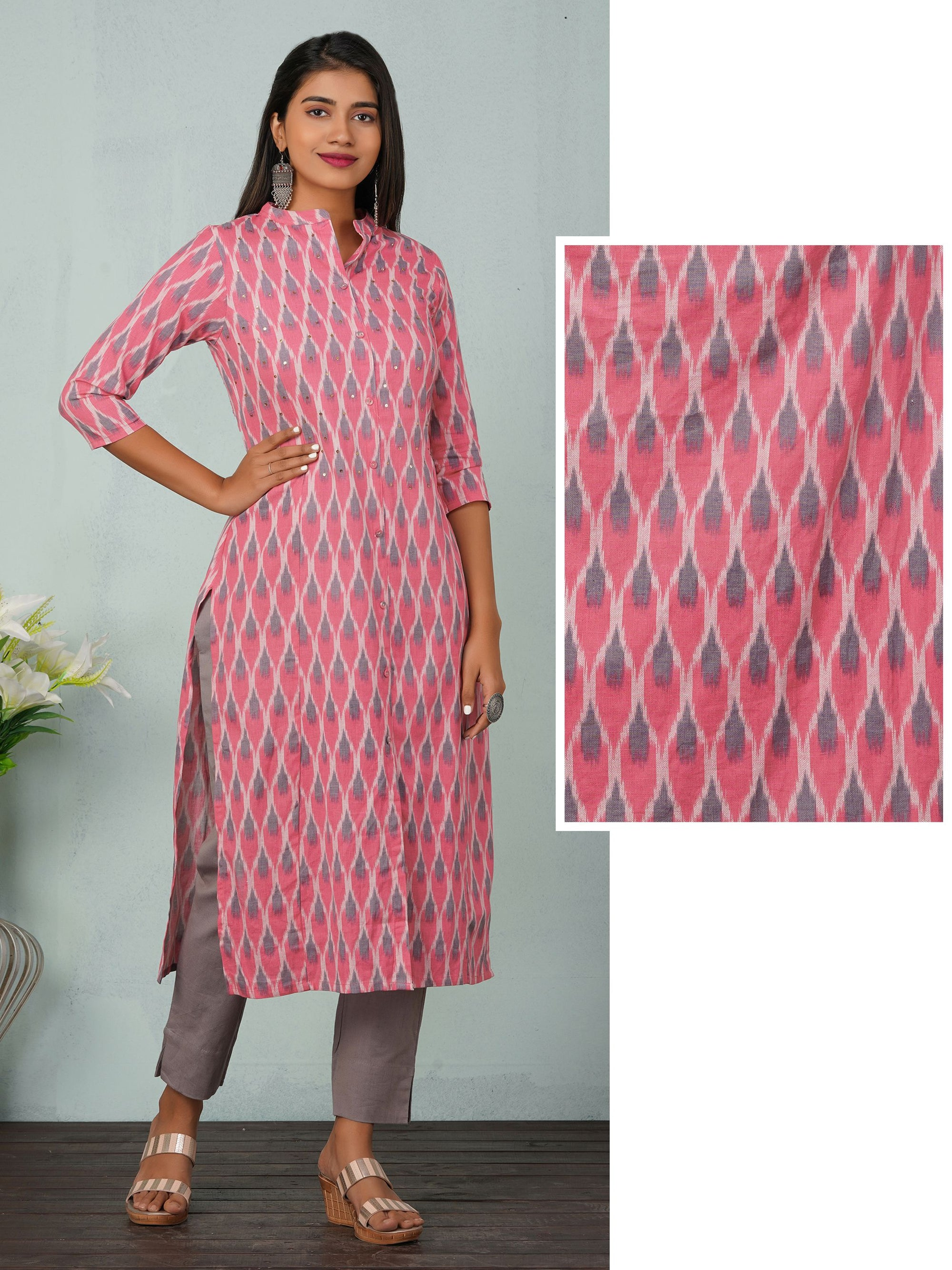 Ikkat Printed Sequin Enhanced Kurti