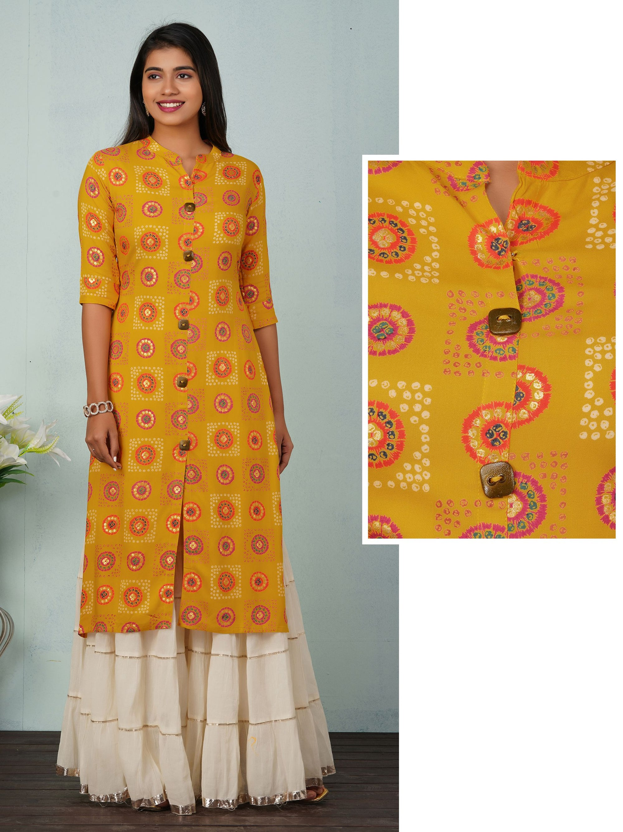 Bandhani Printed Kurti With Gold Foil Print Kurta - Yellow