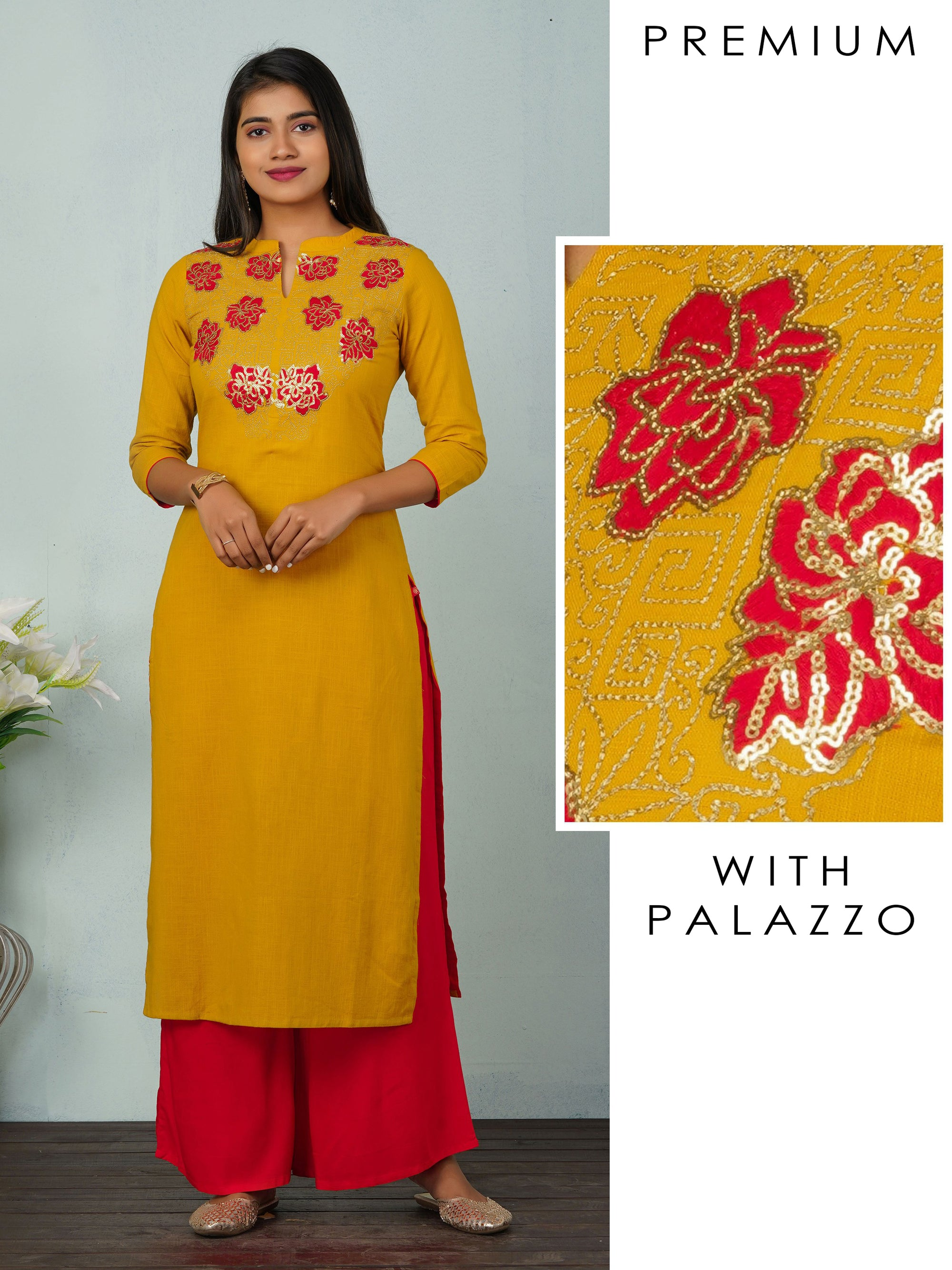Floral Zari Embroidered with Sequins Kurta And Palazzo Set - Mustard