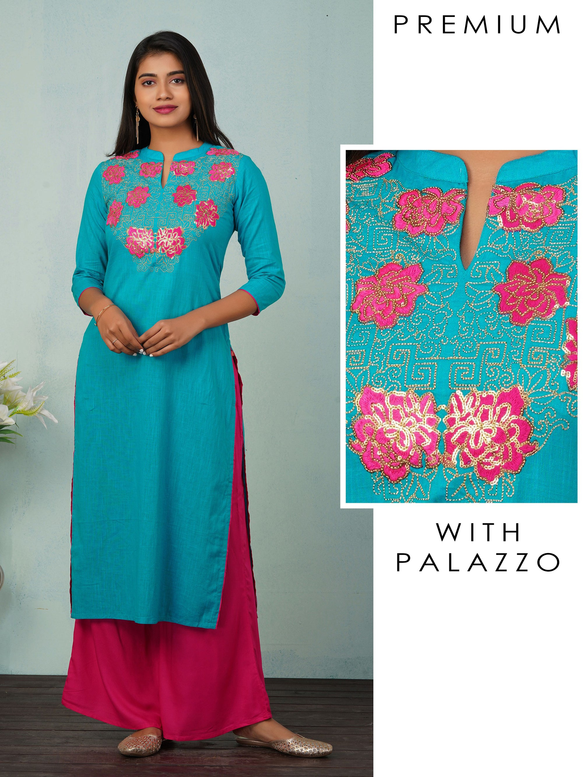 Floral Zari Embroidered with Sequins Kurta And Palazzo Set - Blue