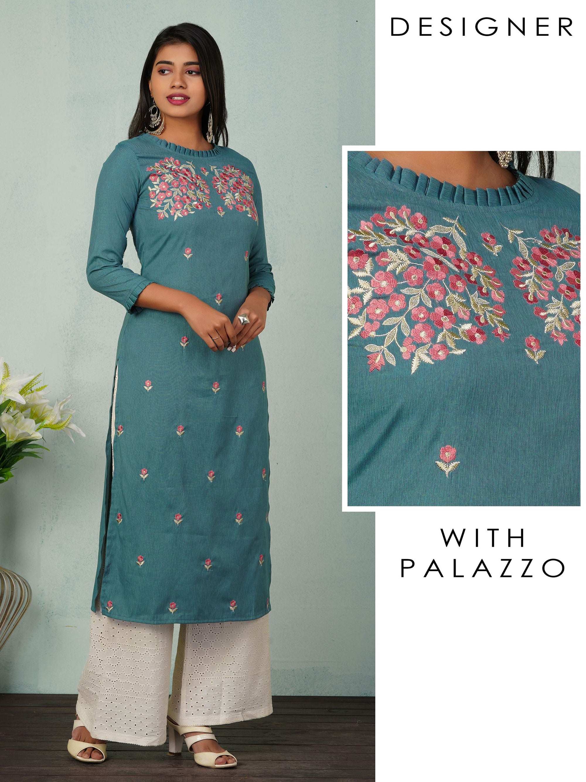 Pleated Neckline And Floral Embroidered Kurta With Schiffli Palazzo Pants