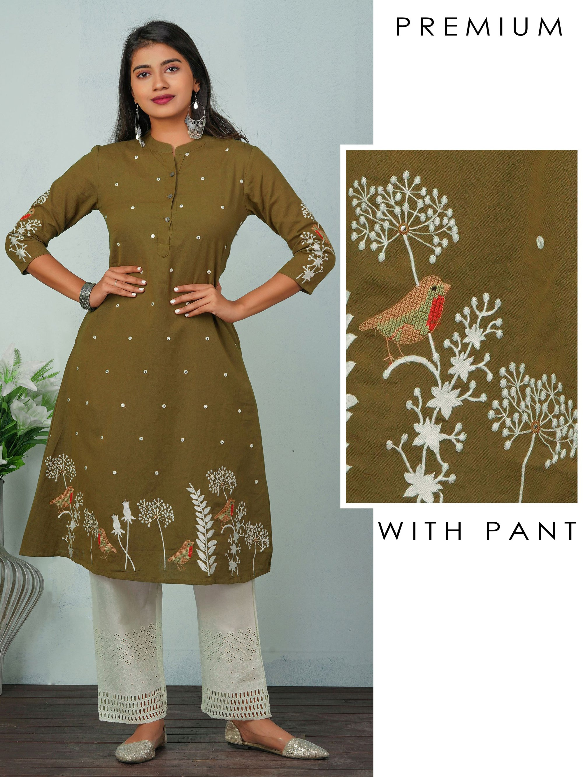 Cross Stitch Bird Embroidered Kurti & Schiffli Pant Set