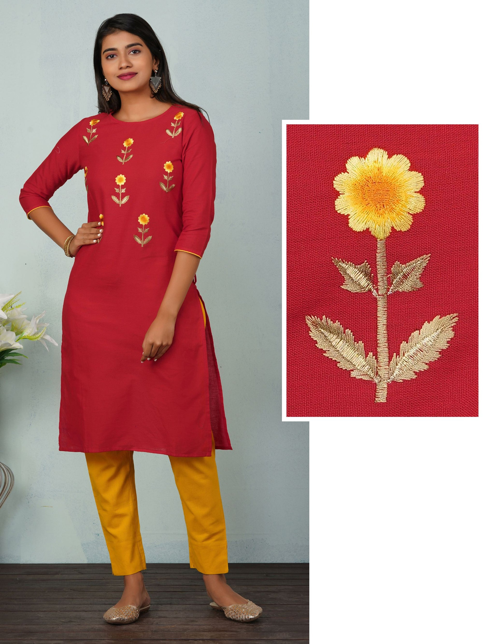 Satin Stitch Floral Embroidered Kurta