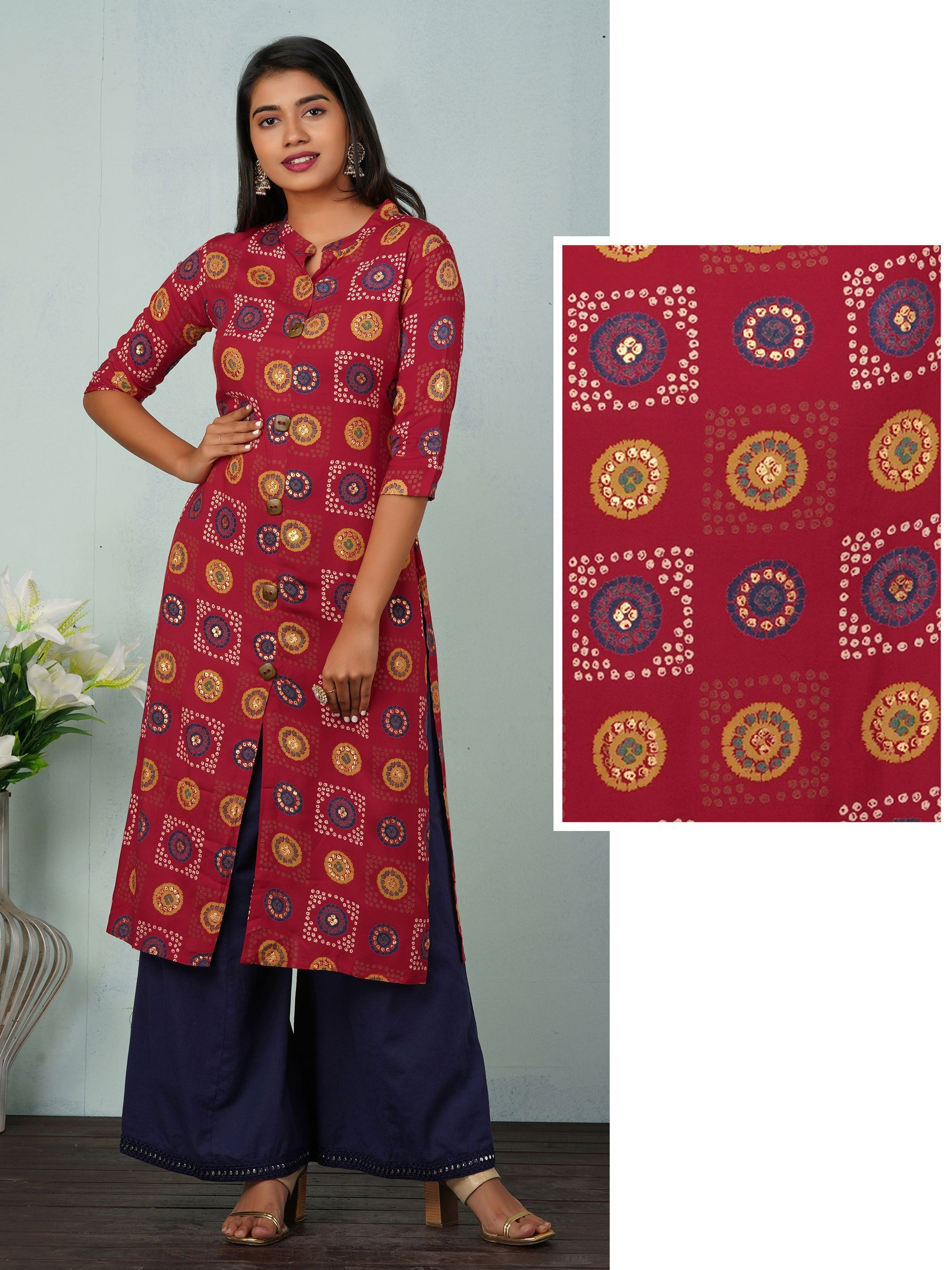 Bandhani Printed Kurti With Gold Foil Print Kurta - Red