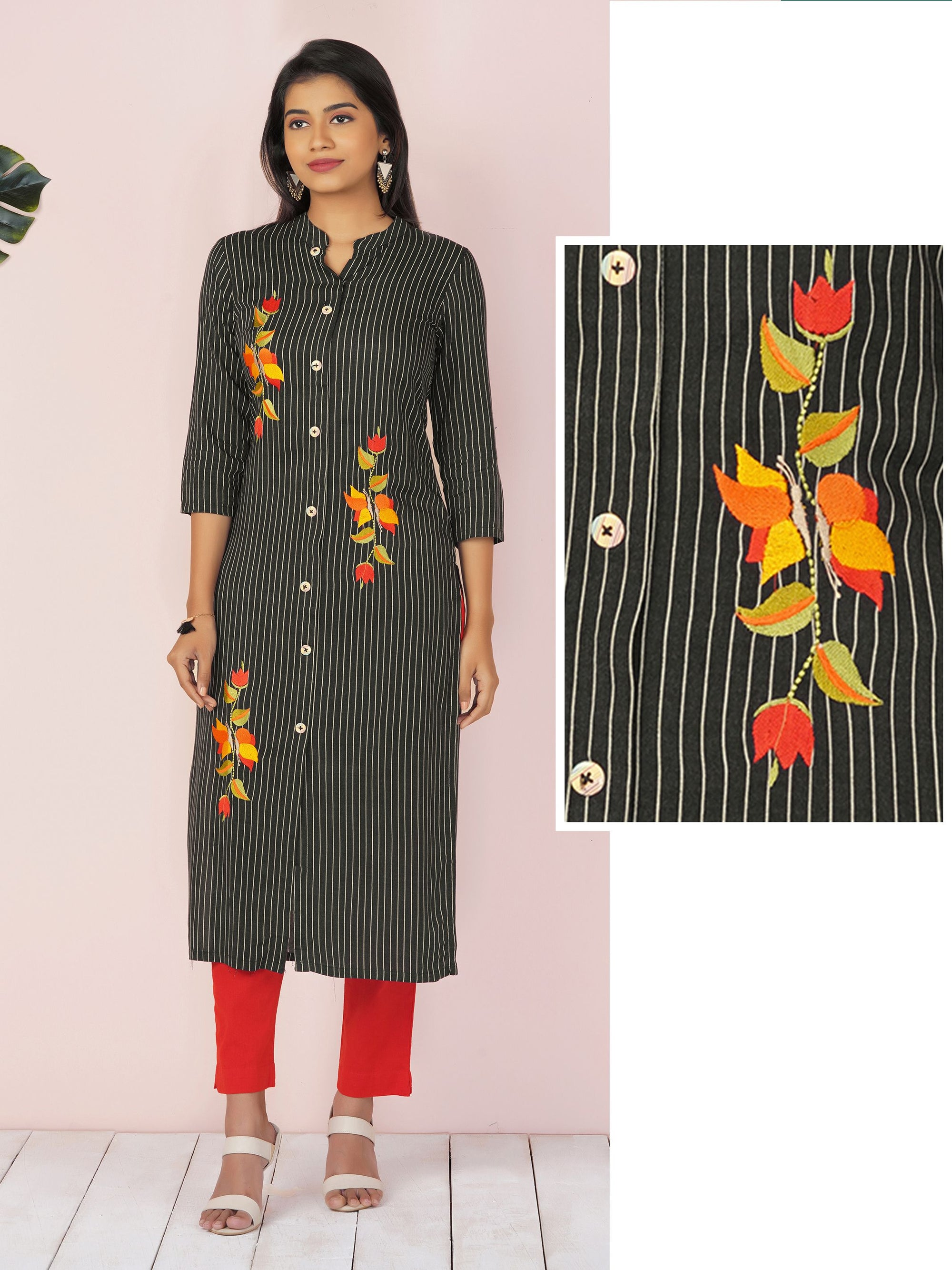 Pin stripes Print With Satin Stitch Floral Embroidered Kurta - Black