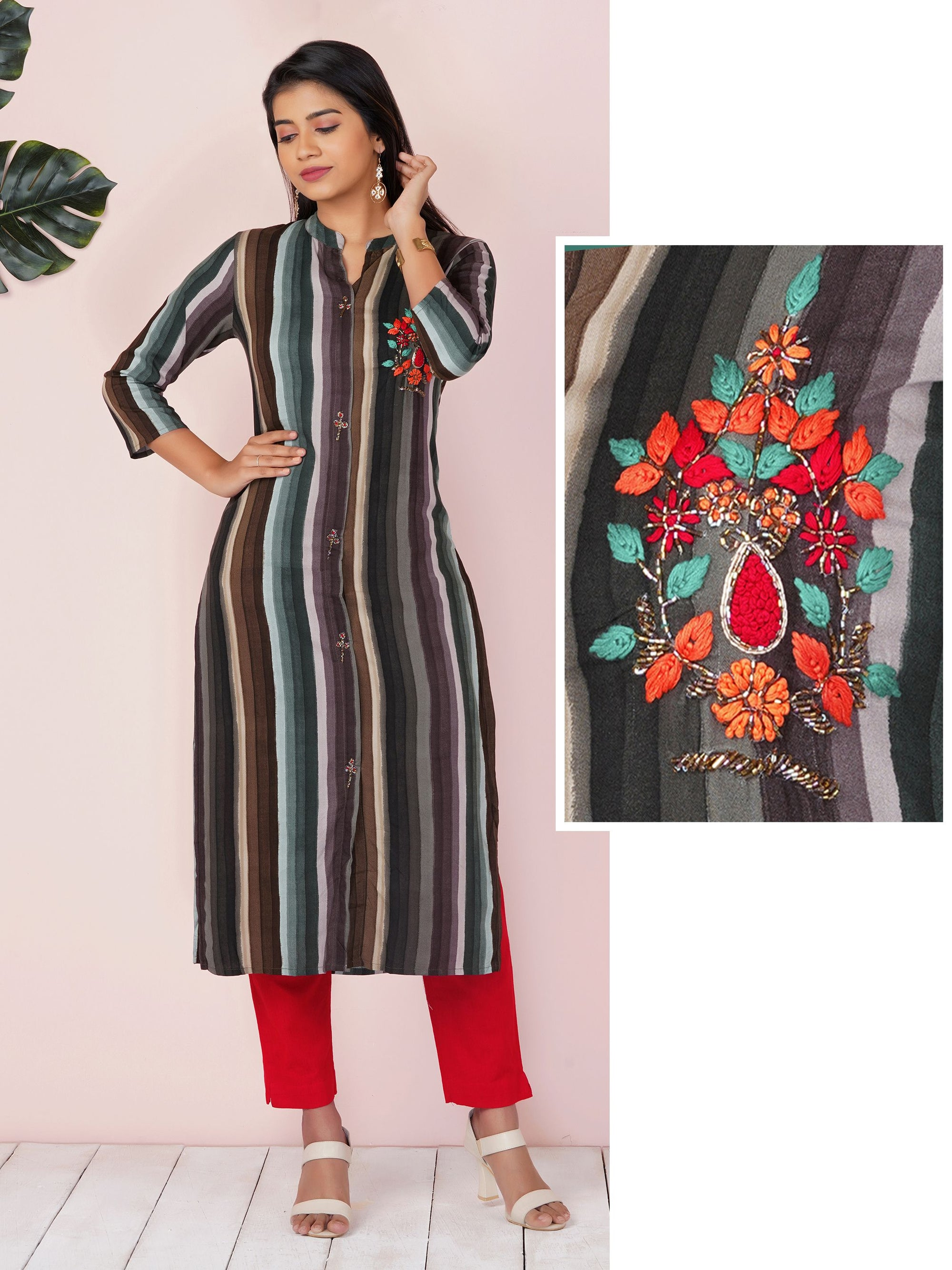 Multi-Color Cabana Striped & French Knot Embellished Kurti