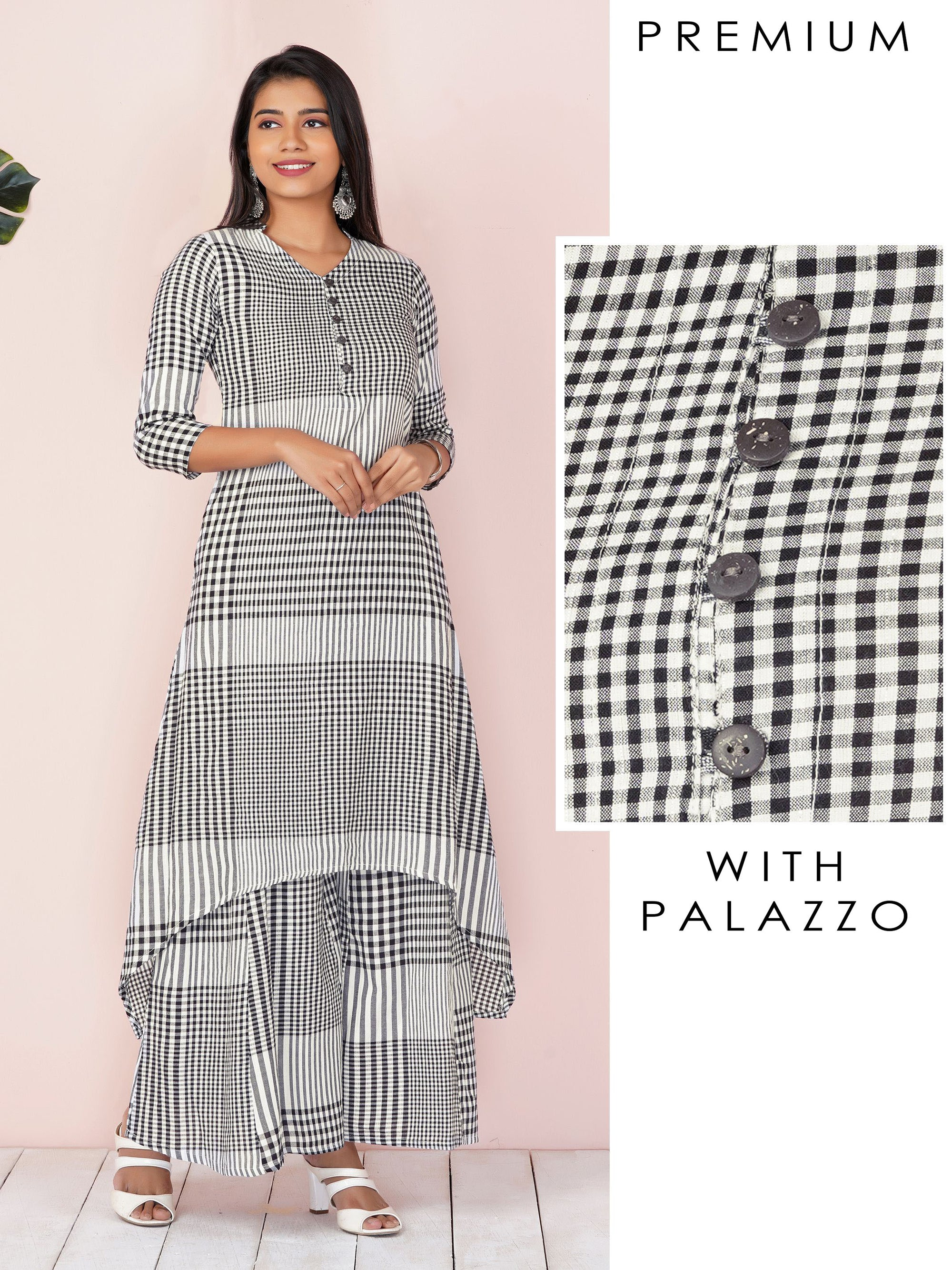 Hi-Low Checkered And Striped Kurta With Palazzo