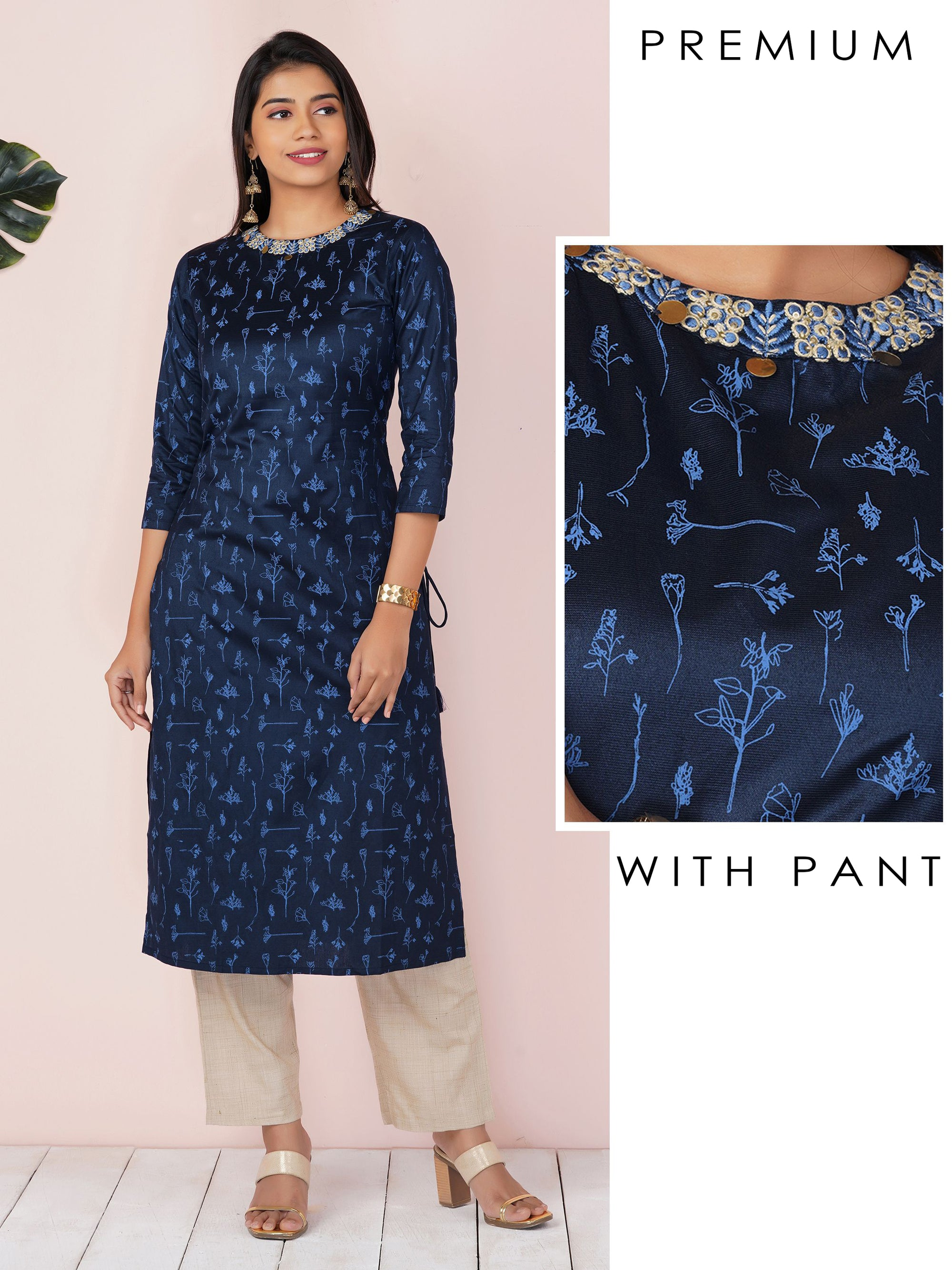 Leaf Embroidered And Printed Kurta And Self-Design Pant