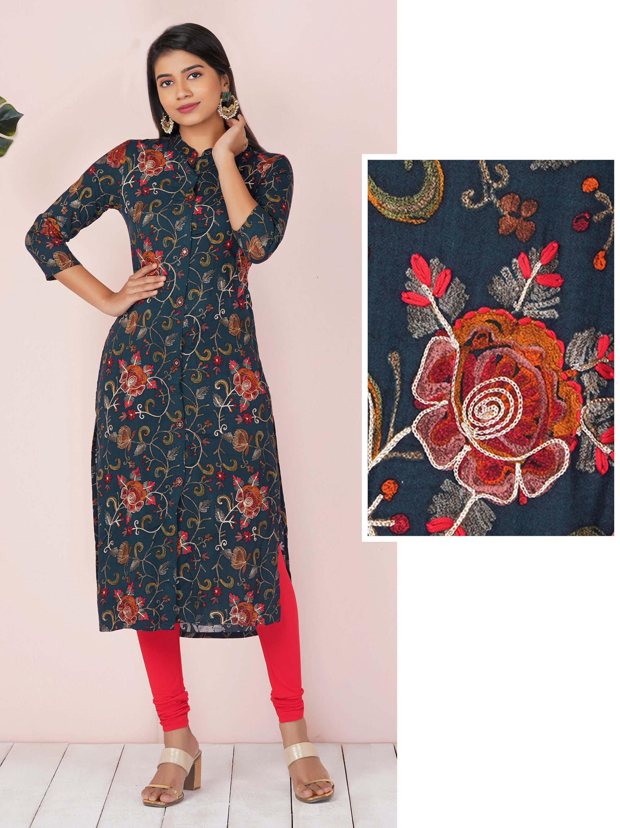 Chain Embroidered And Embellished Button Floral Kurta