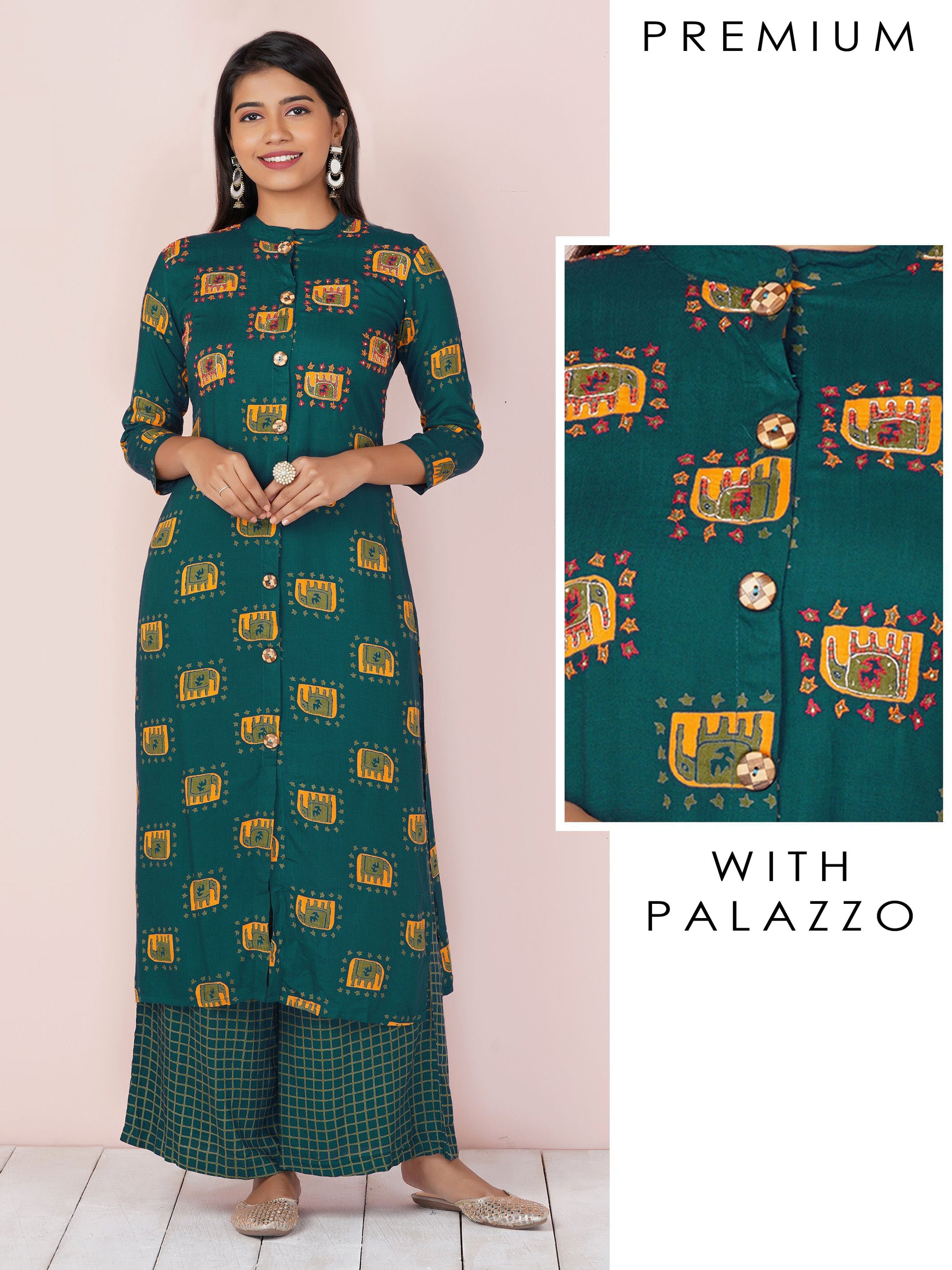 Elephant Printed Kurti & Checkered Palazzo Set - Navy Blue