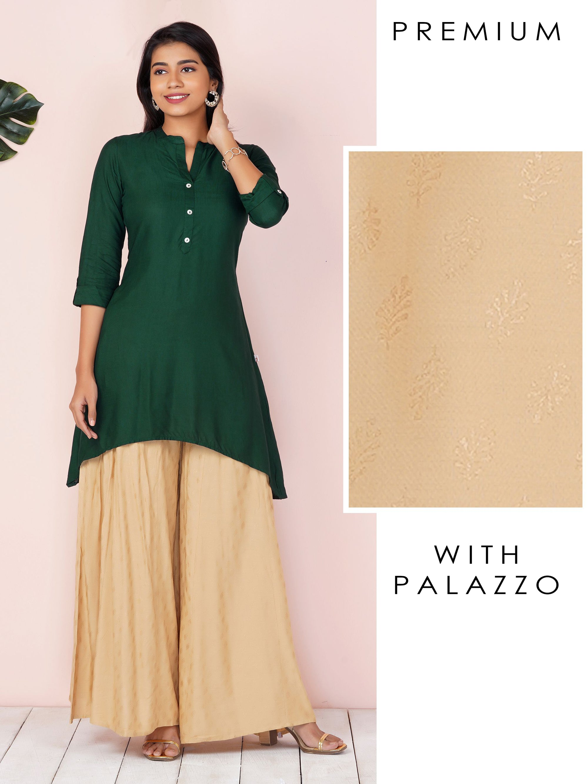 Hi-Low Kurta With Gold Khari Flared Palazzo Set