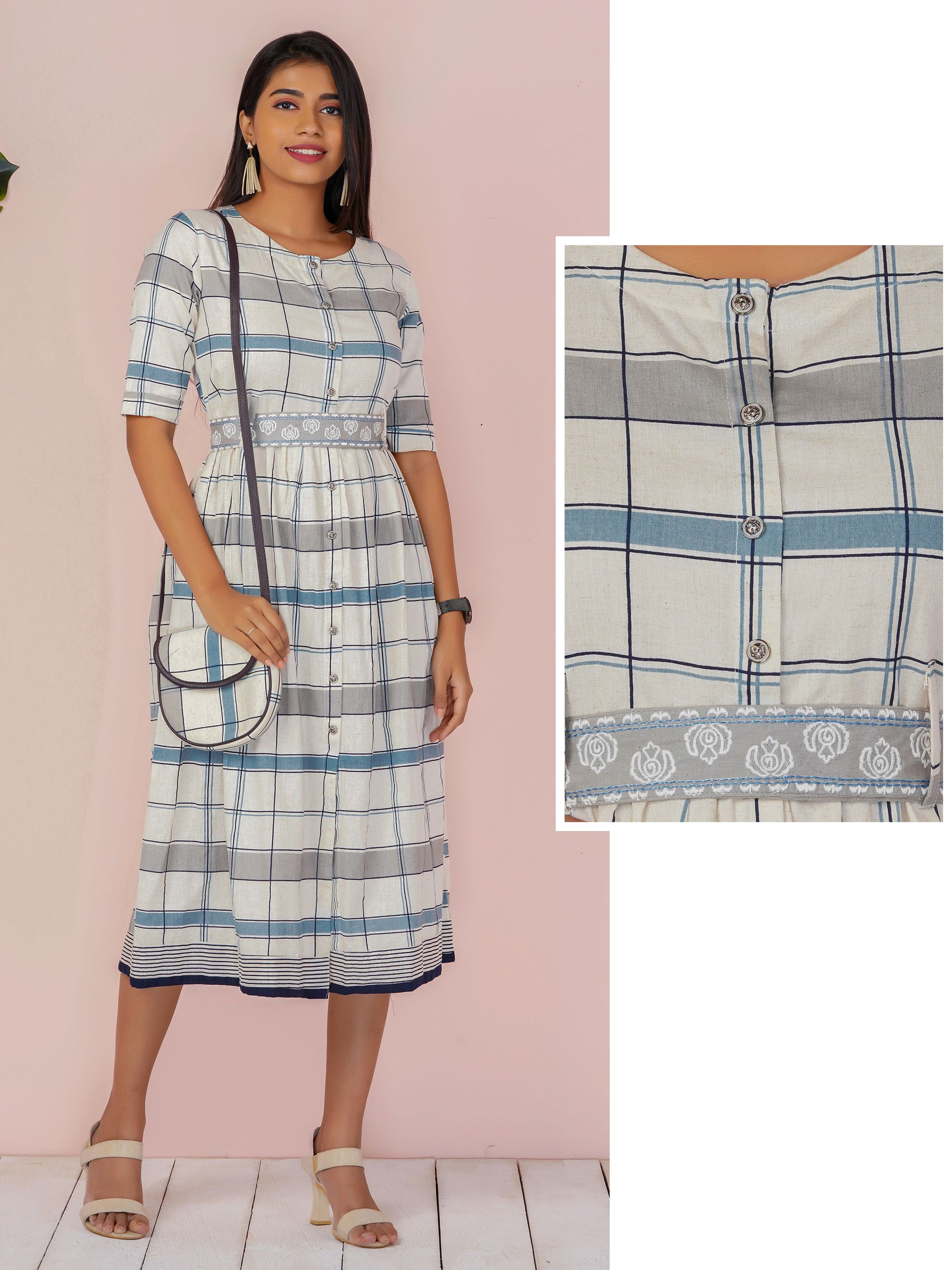 Checkered Casual Maxi with Belt & Sling Bag