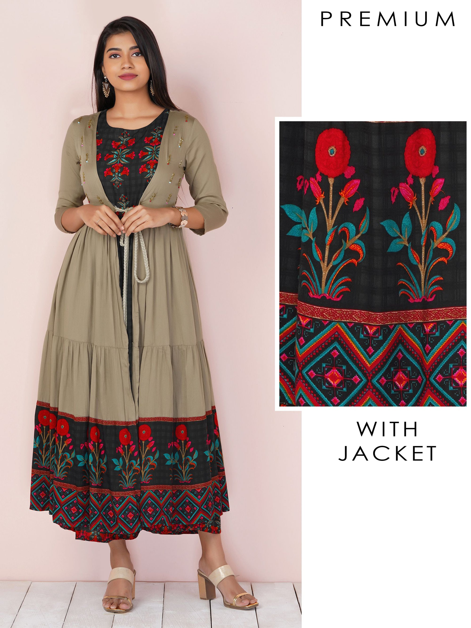 Floral Printed Kurta with Flared Jacket