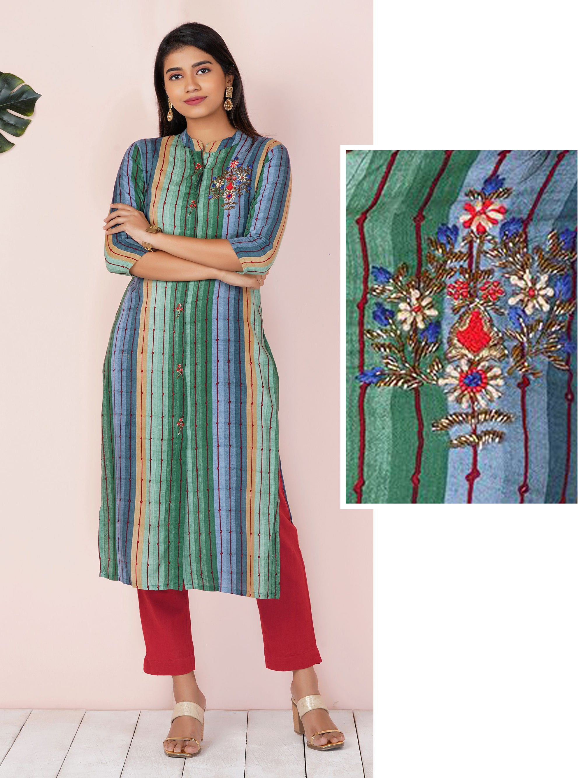 Fusion Stripe-on-Stripe With Cutdana, Beads and Floral Embroidery