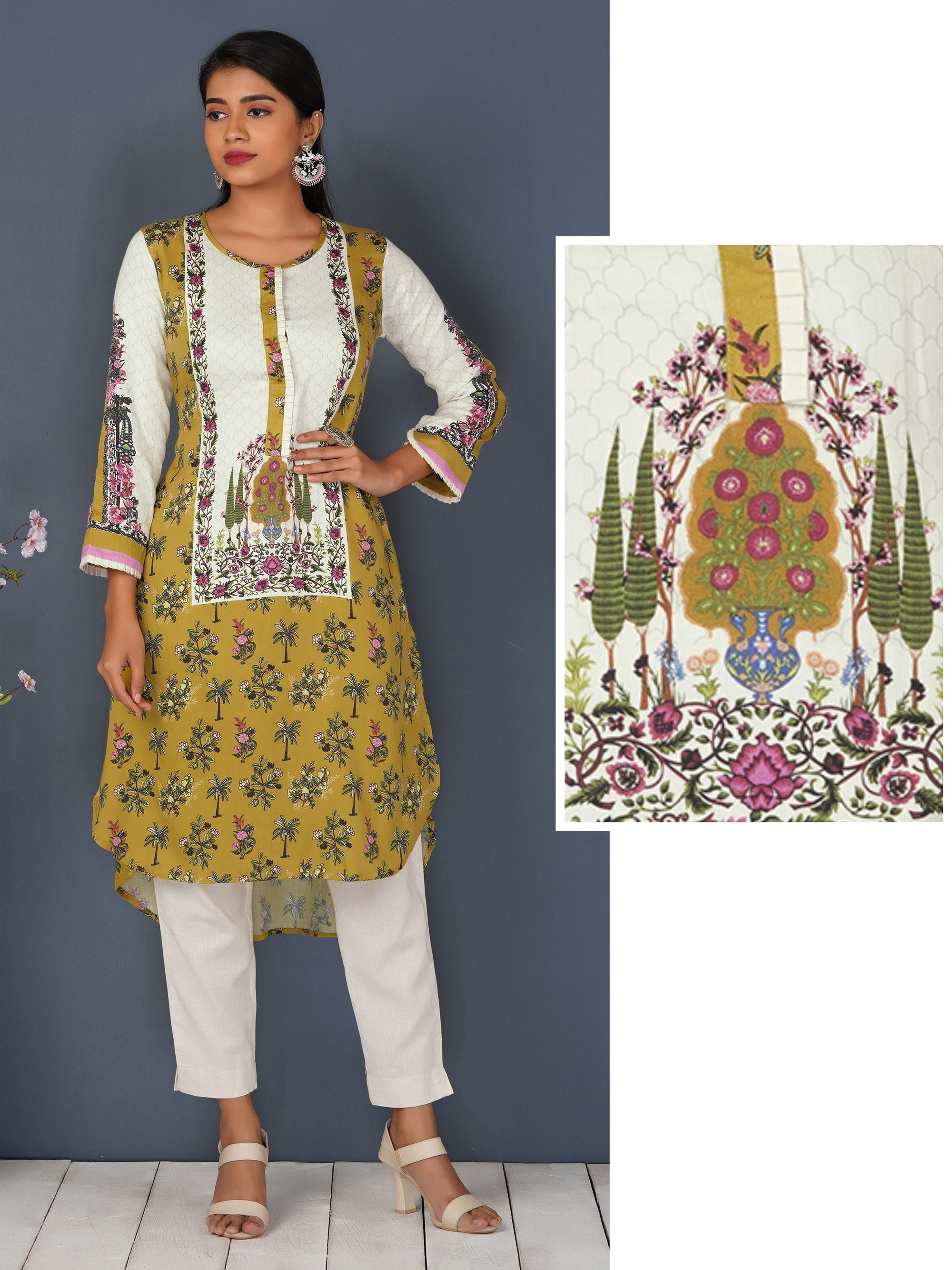 Tree Floral Motif Hi- Low Kurta – Chartreuse Yellow