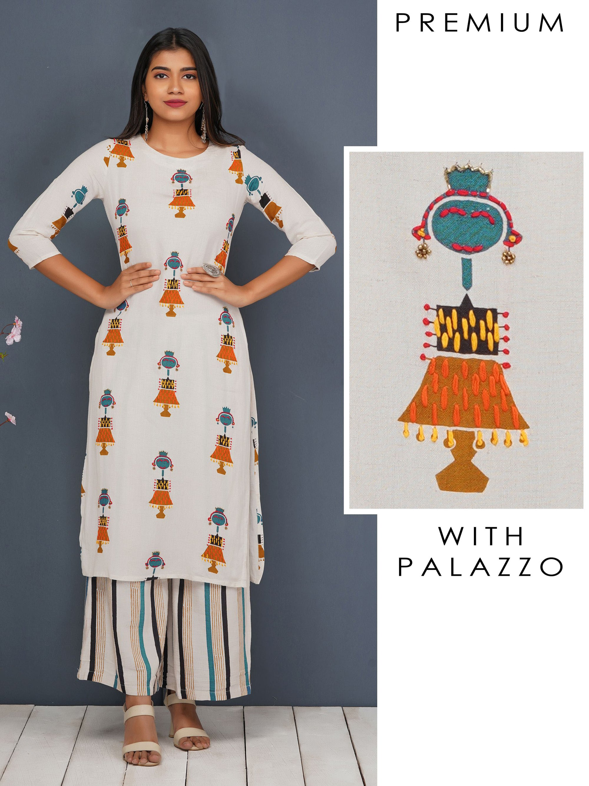 Quirky Printed Kurti & Striped Palazzo Set