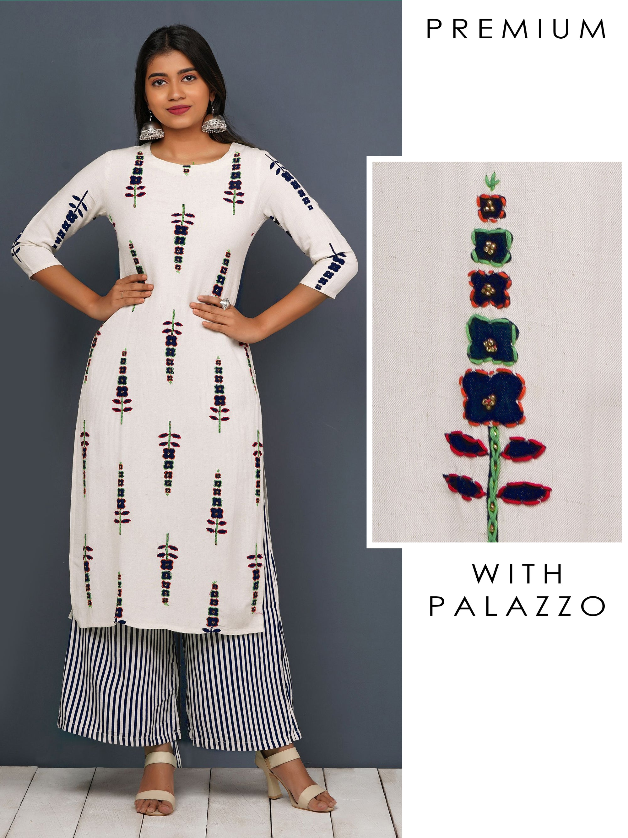 Floral Printed Kurti & Cabana Striped Palazzo Set