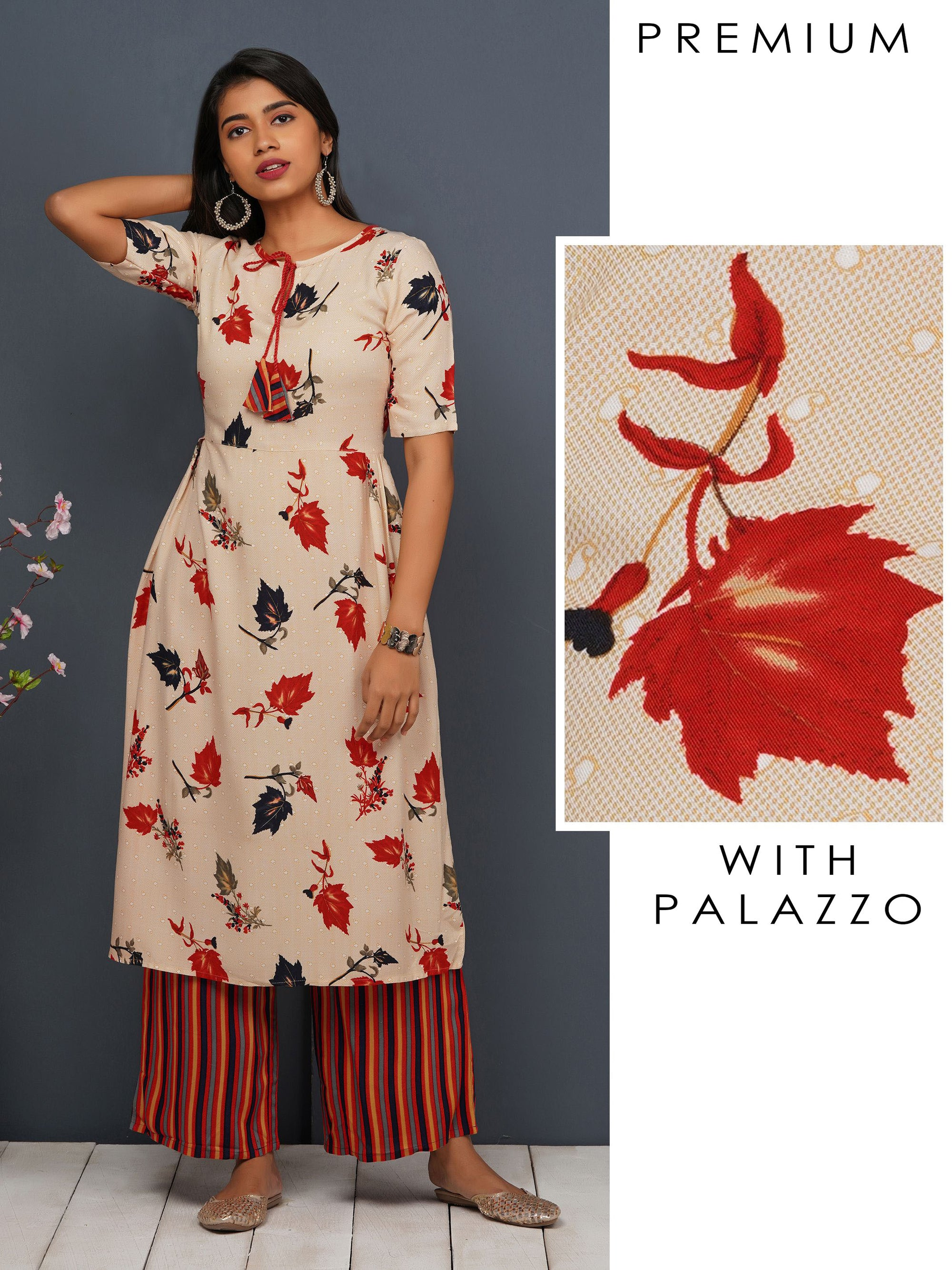 Autumn Leaf Printed A-line Kurta With Multi Striped Palazzo