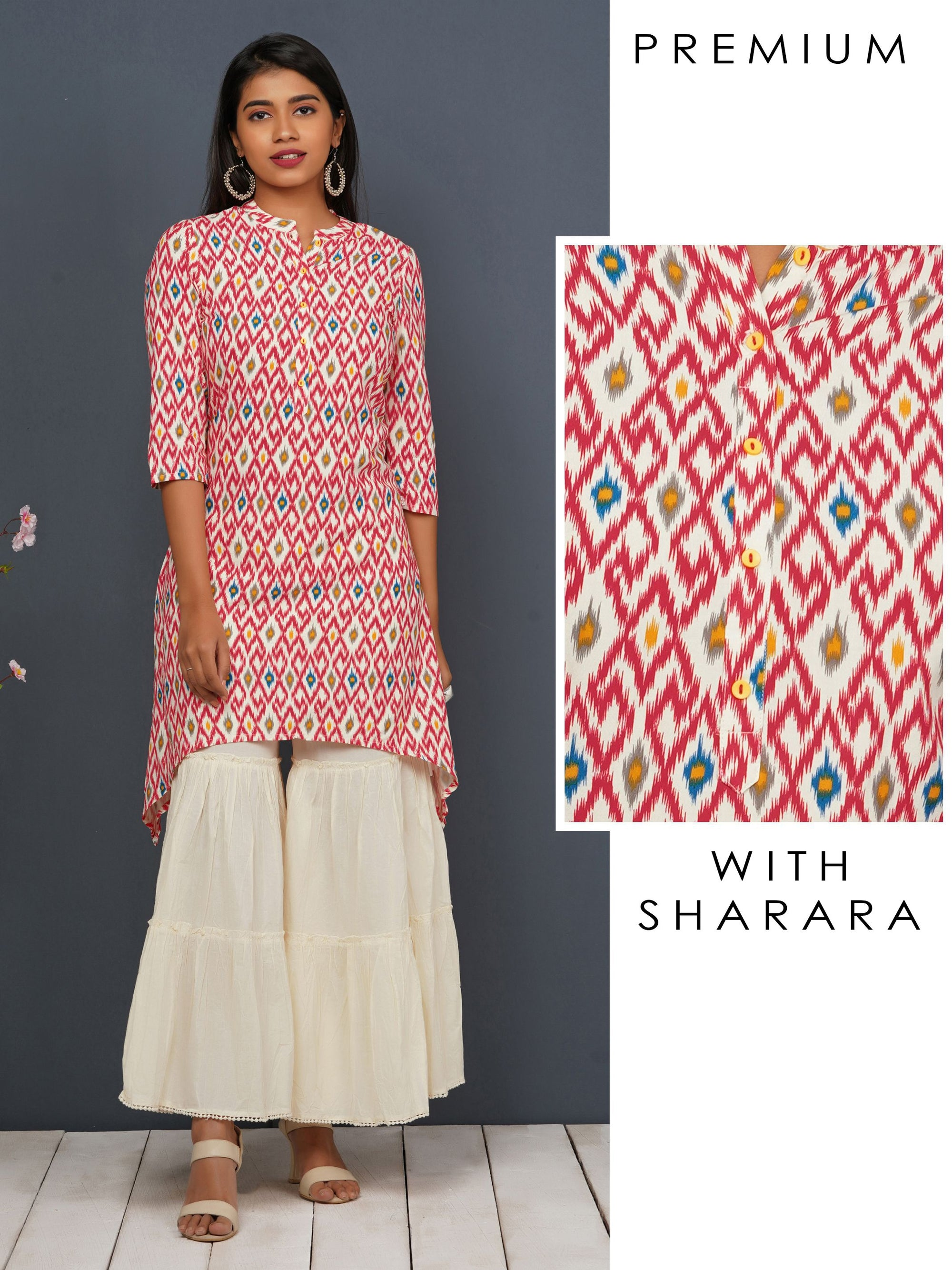 Hi-Low Abstract Printed Kurta With Sharara Set