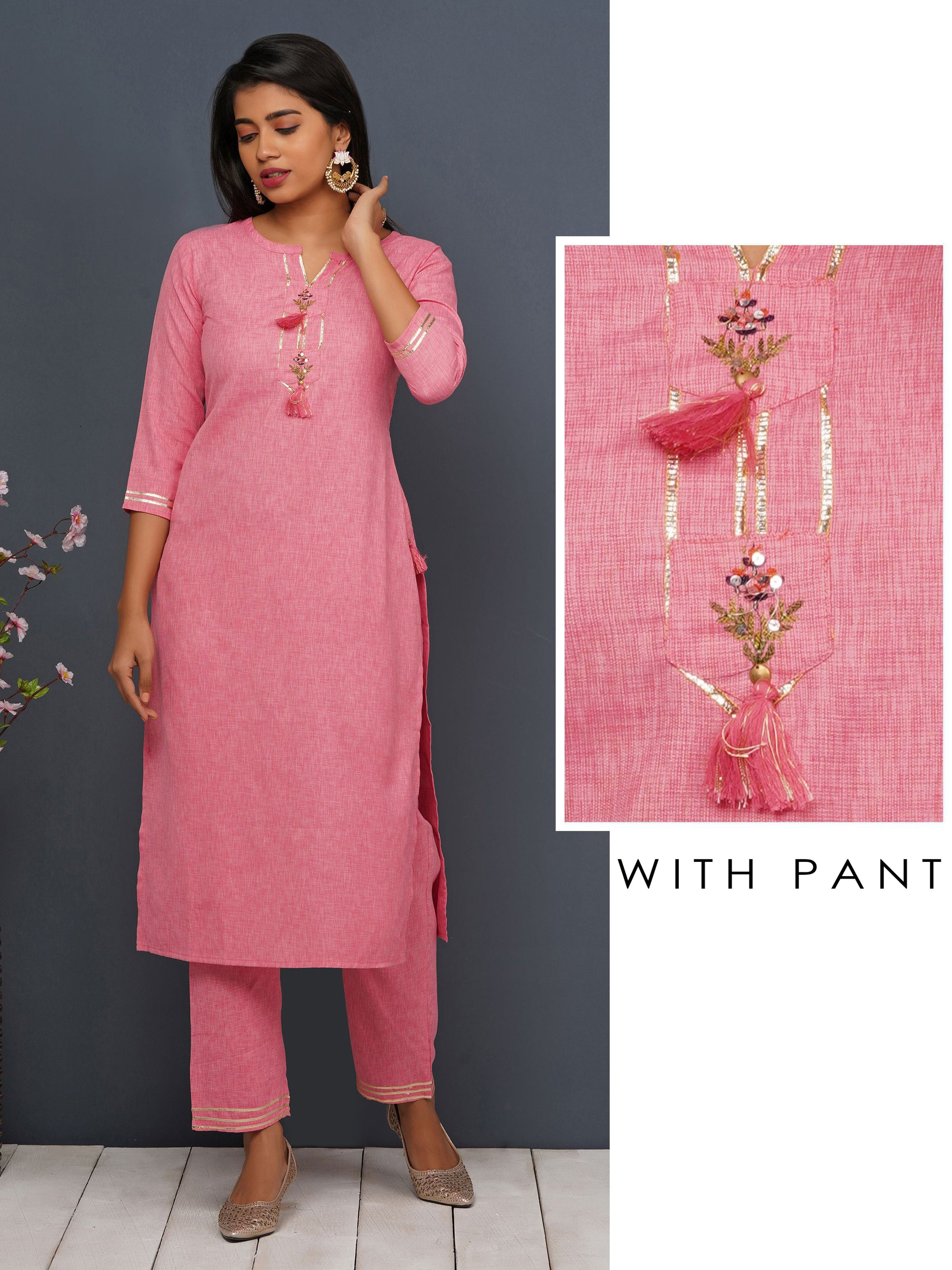 Gota With Minimal Floral Embroidery Kurta-Pant Set - Flamingo Pink