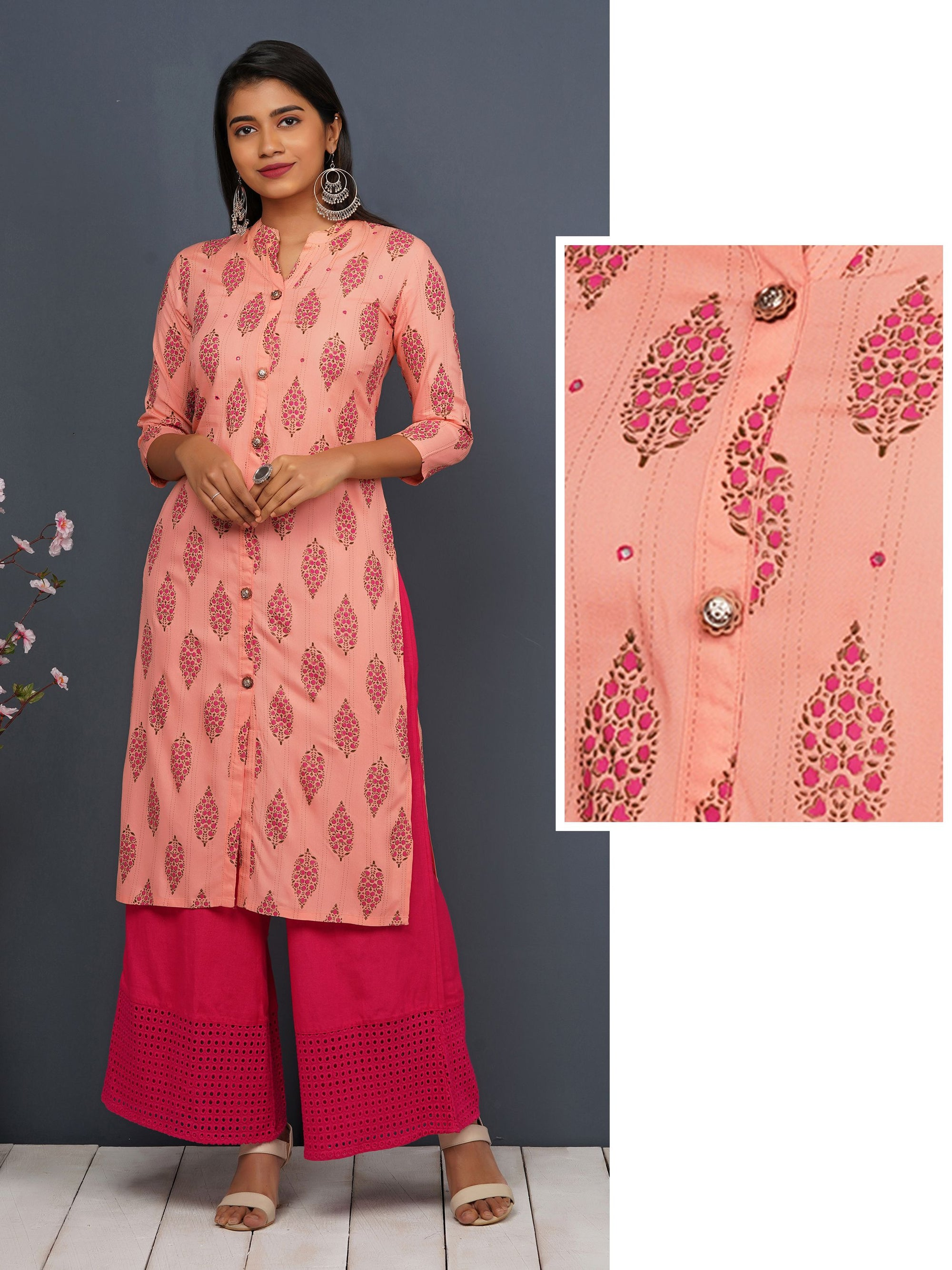 Chalk Striped & Floral Printed Kurti