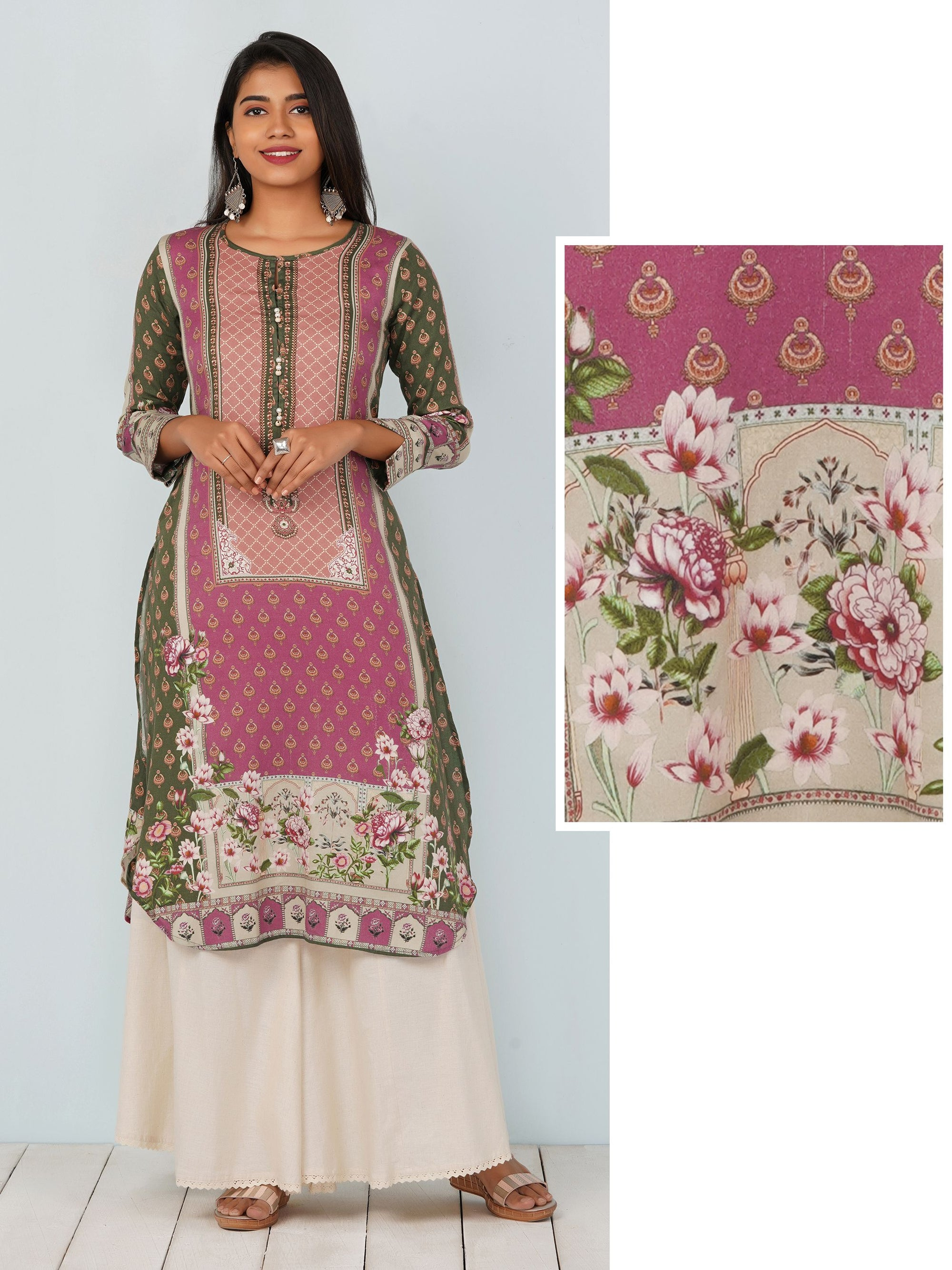 Digital Printed Floral Hi- Low Kurta