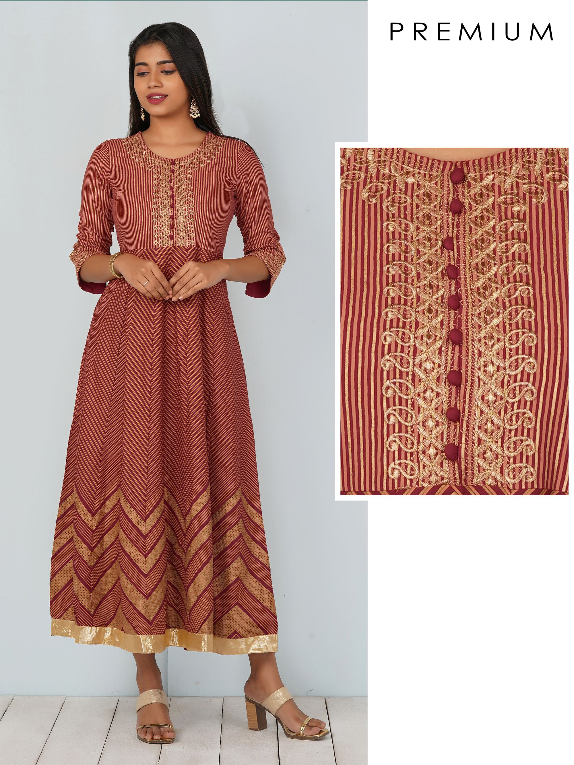 Gold Foil Chevron Print With Gold Zari Work Kurti