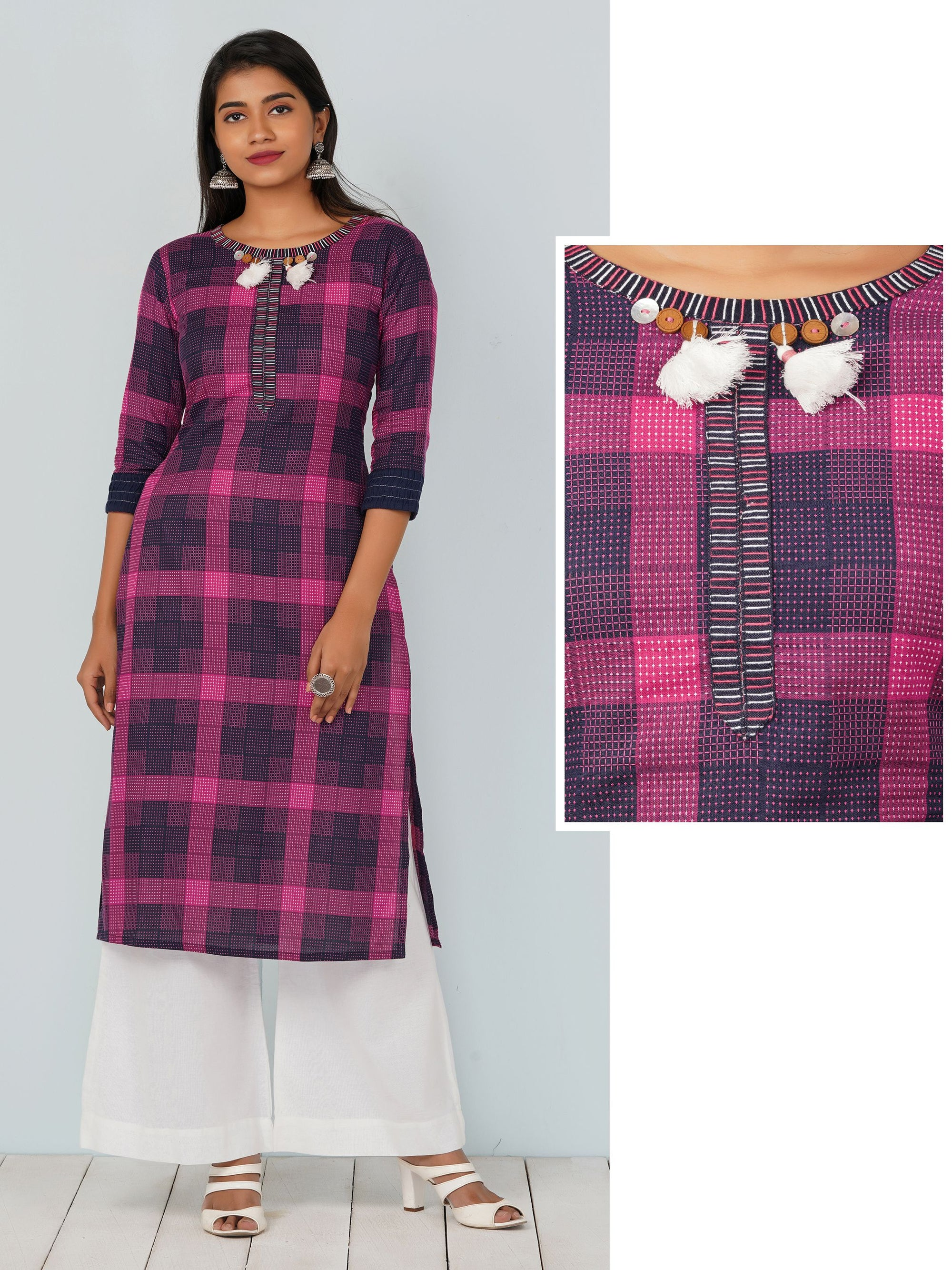 Checkered Embroidered Kurta With Gathered Sleeves