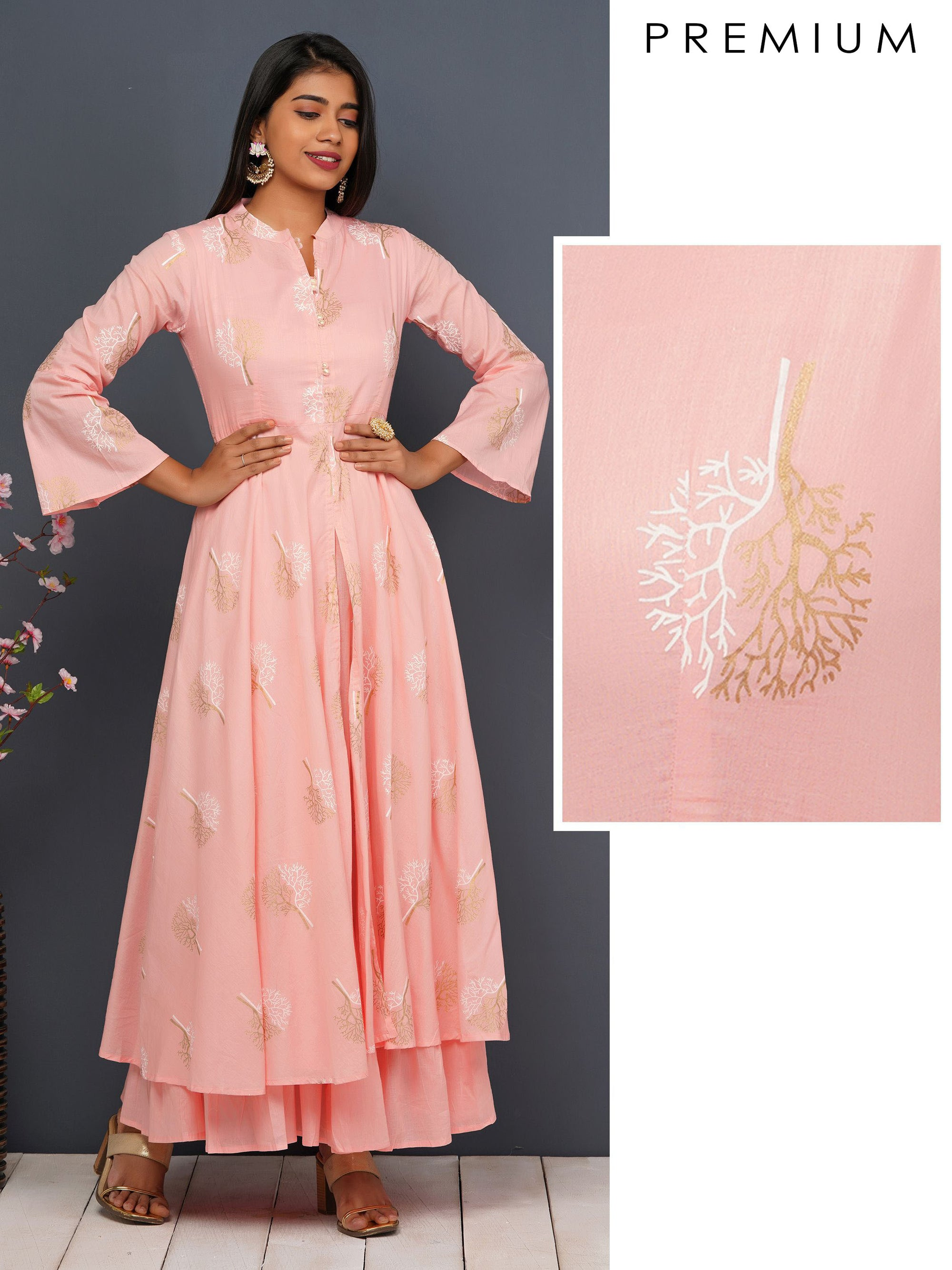 Khari Tree Printed Flared Kurta With Inner