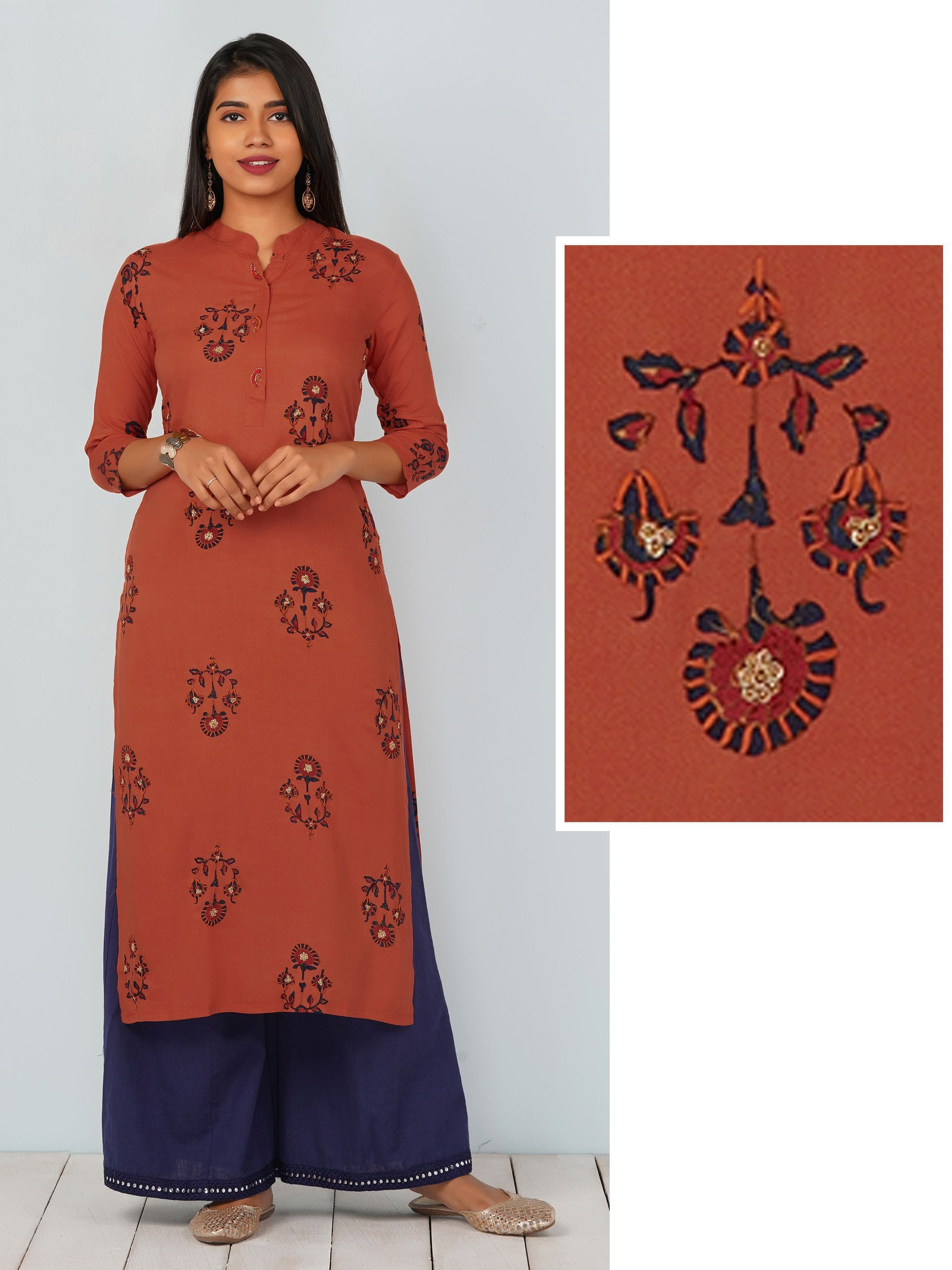 Zardosi Enhanced Floral Printed Kurti - Rust Orange