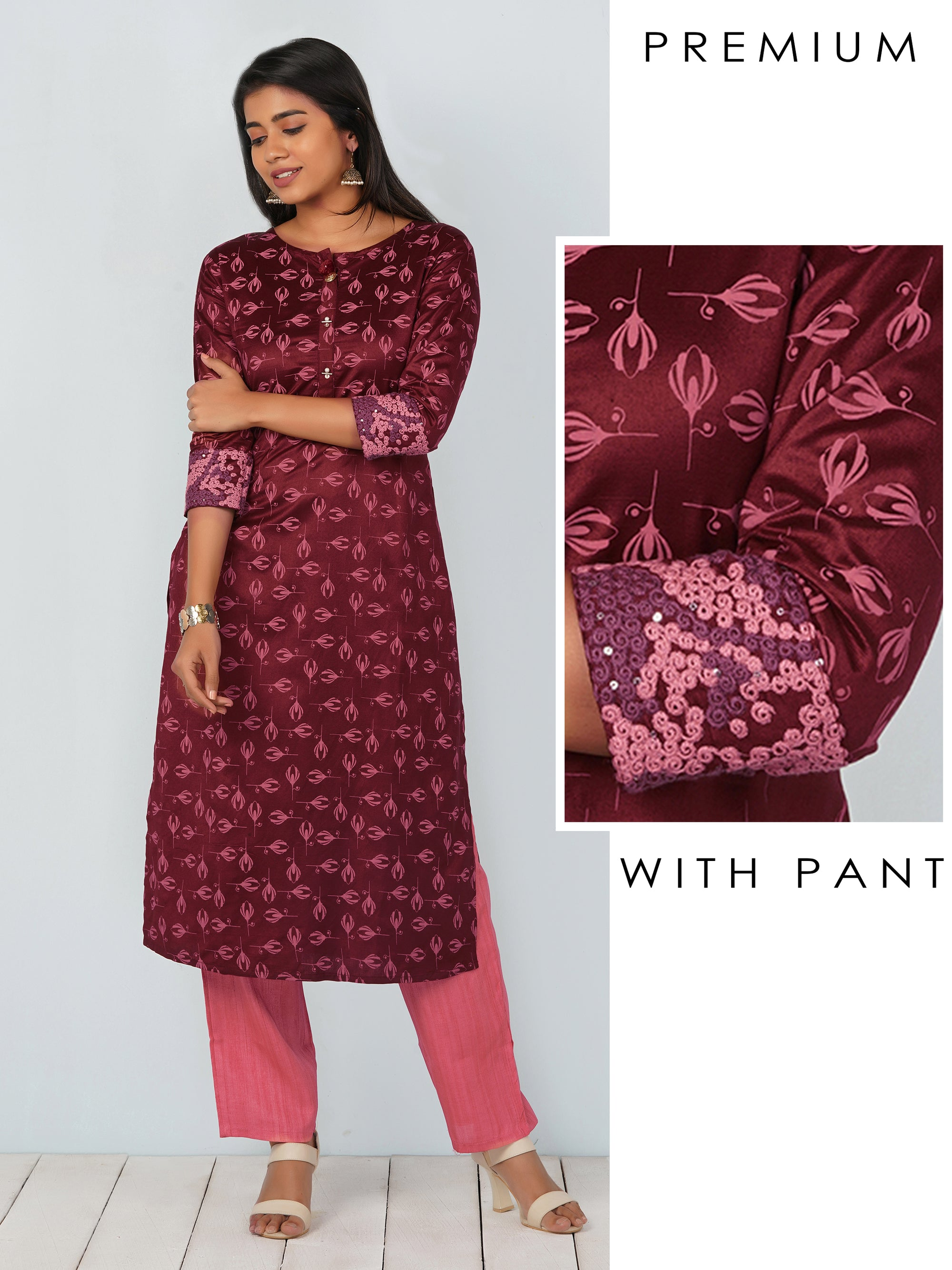Double Colour Embroidery And Tulip Printed Kurta With Pant Set