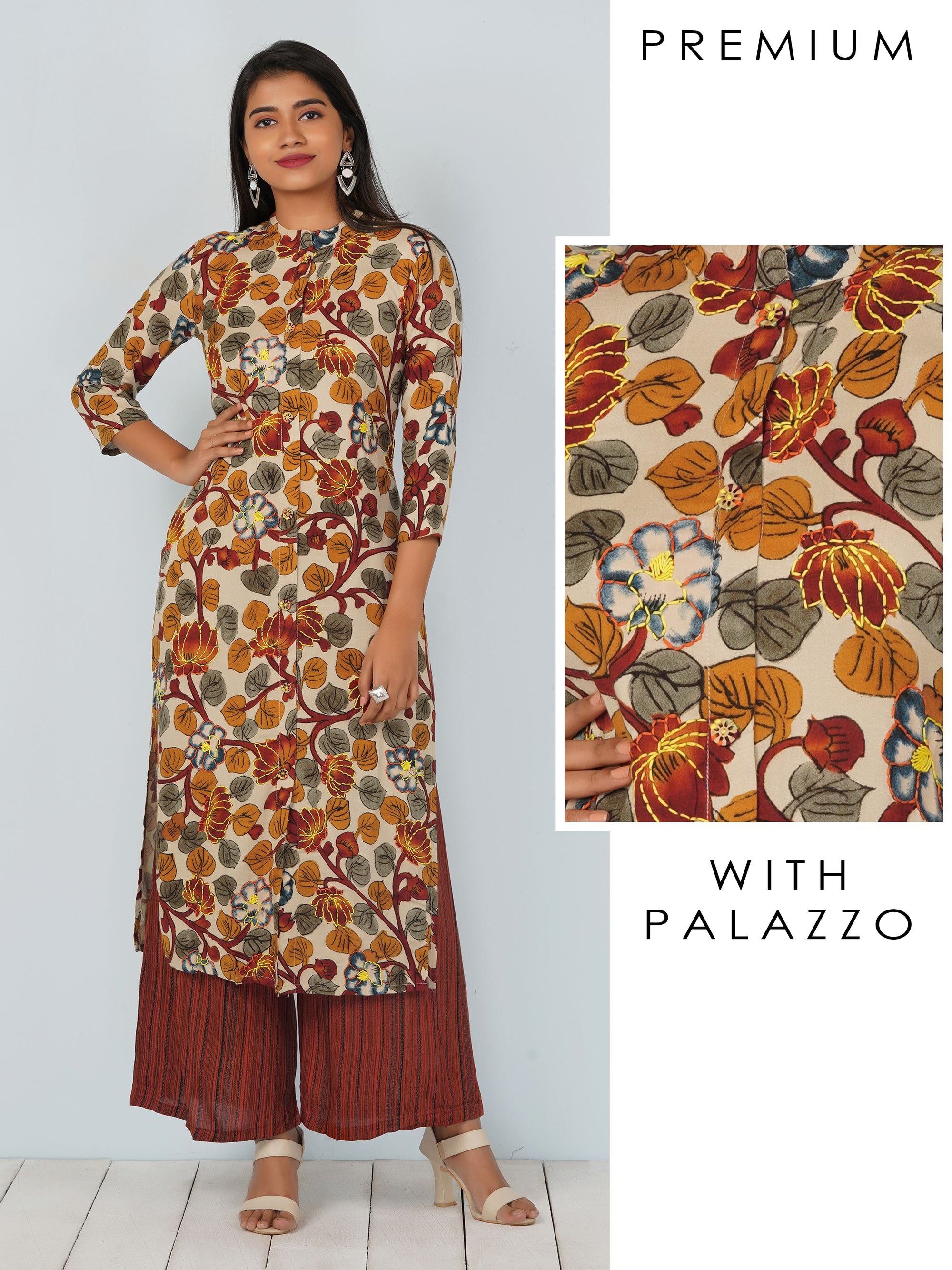 Lotus Floral Printed Kurti & Barcode Striped Palazzo Set