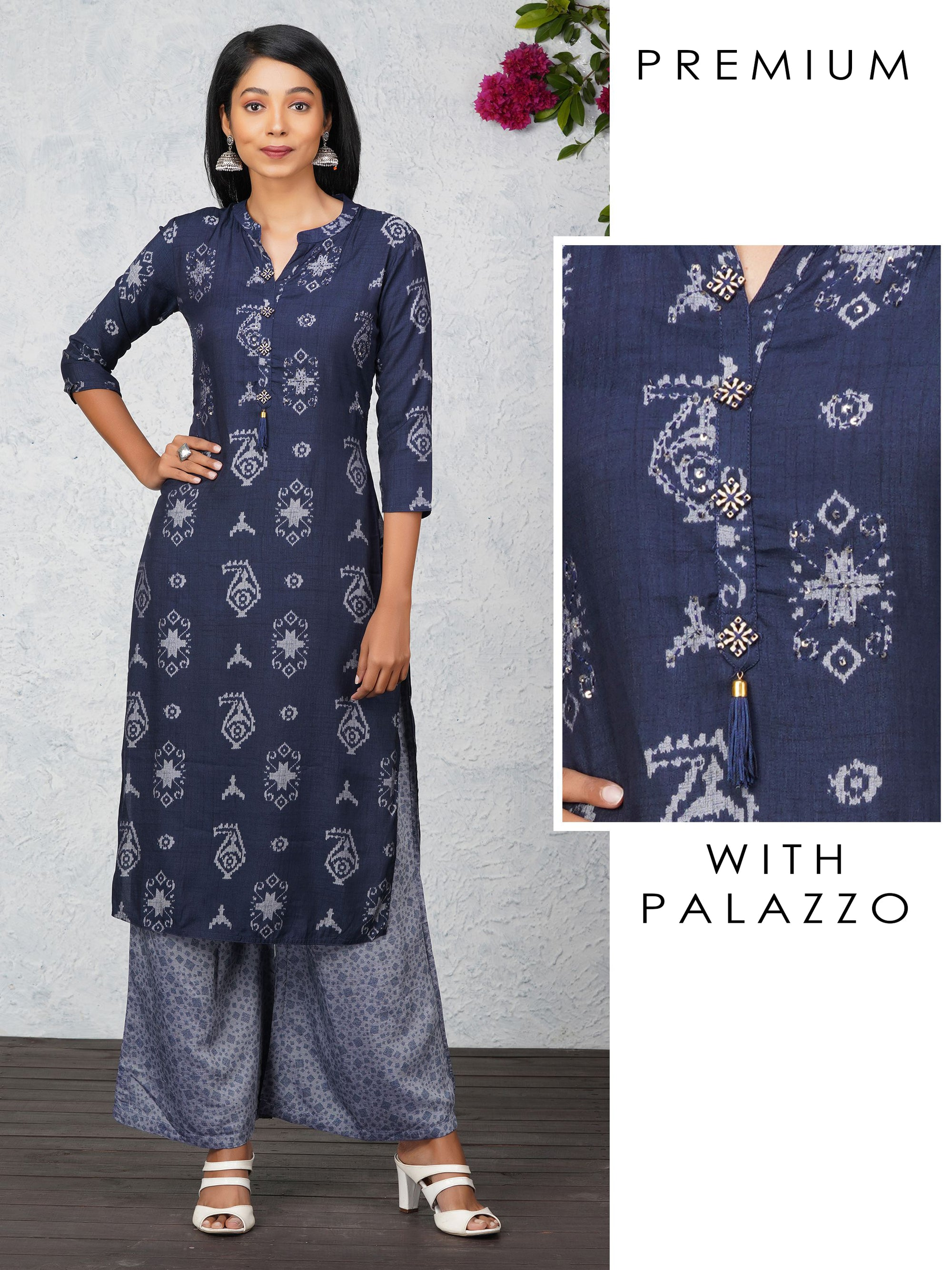 Abstract Printed Kurta With Sequins And Palazzo Set