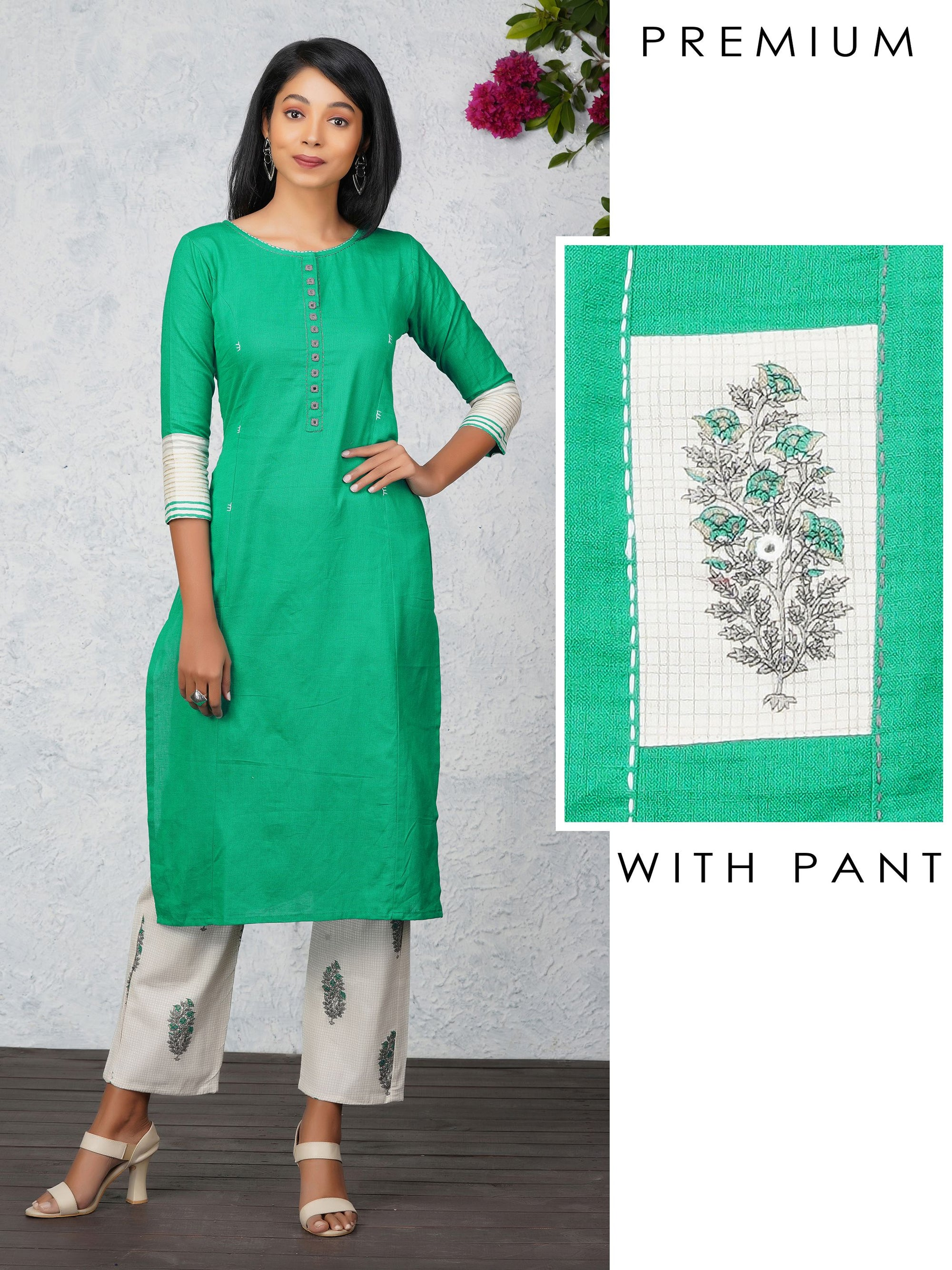 Minimal Mirror worked Kurti & Floral Printed Pant Set